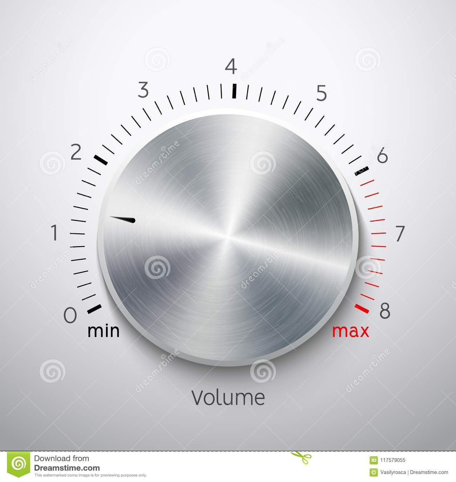 Volume button metal texture steel chrome. Music knob sound level. Sound panel tuner interface