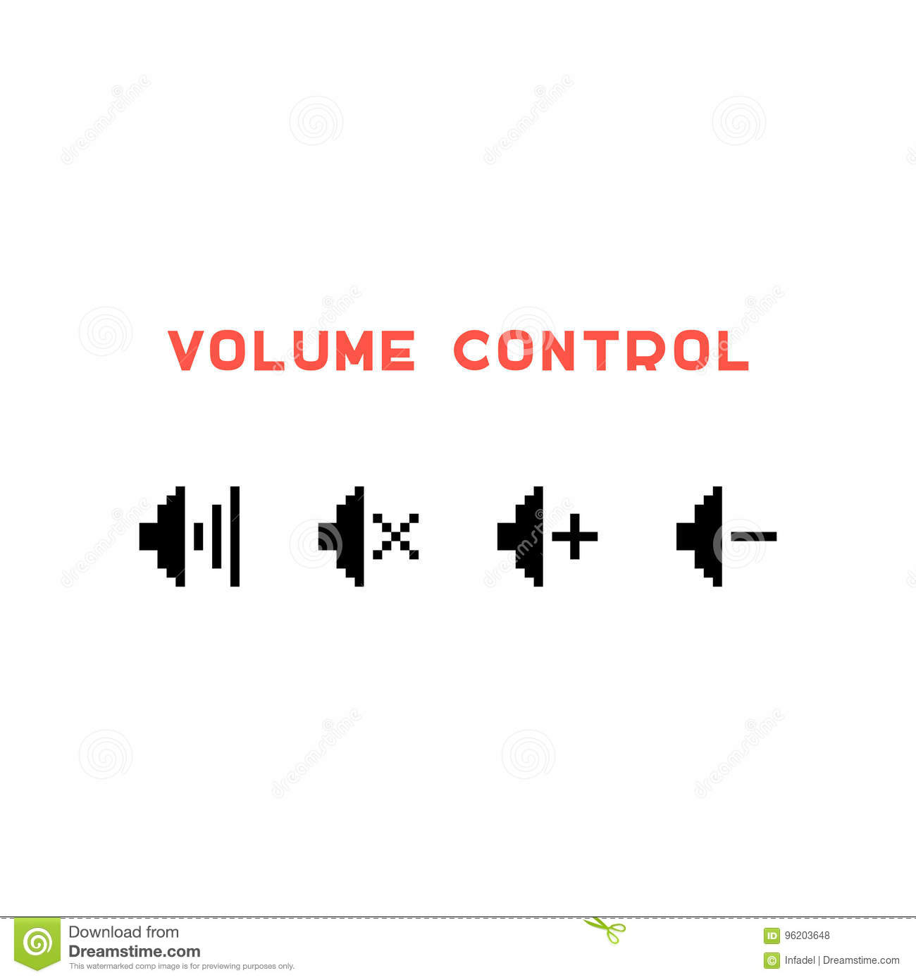Volume Control Set In Pixel Art Stock Vector - Illustration of noise