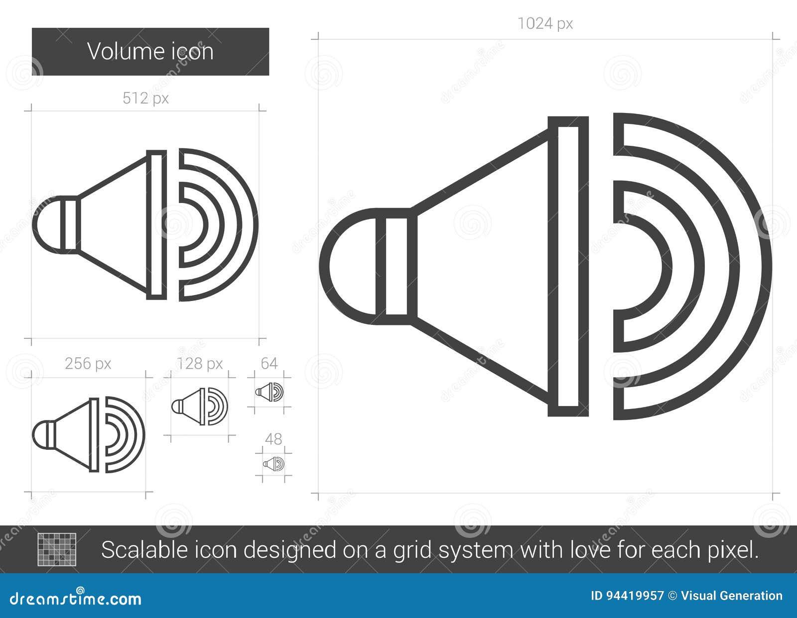 Volume line icon  stock vector  Illustration of amplifier