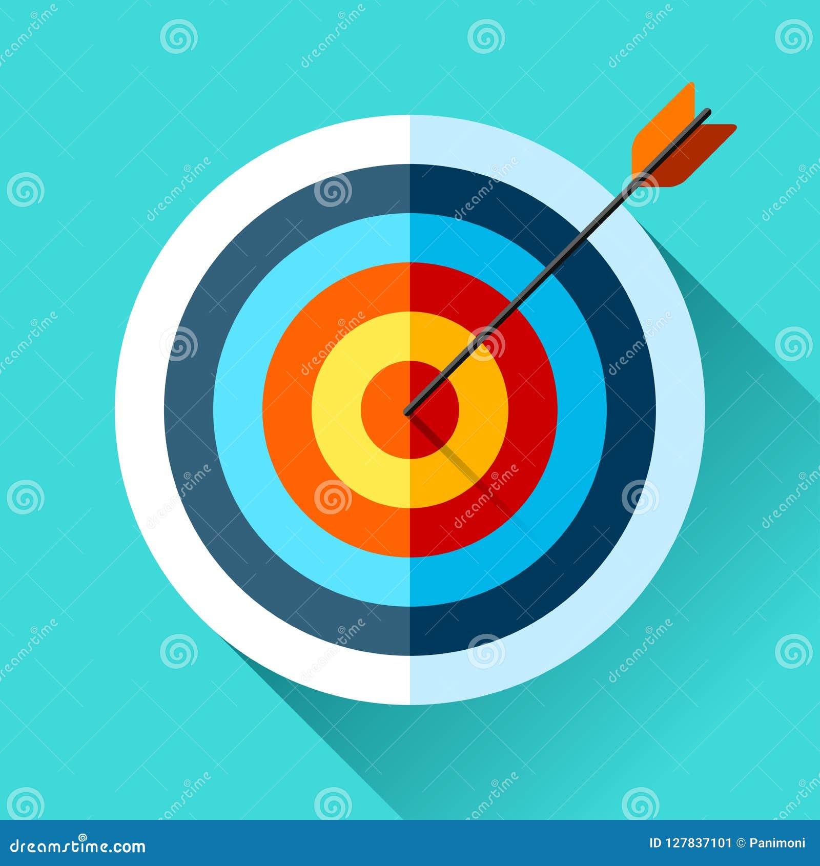 Volumen-Zielikone in der flachen Art auf Farbhintergrund Pfeil im Mittelziel Vektorgestaltungselement für Sie Geschäftsprojekte