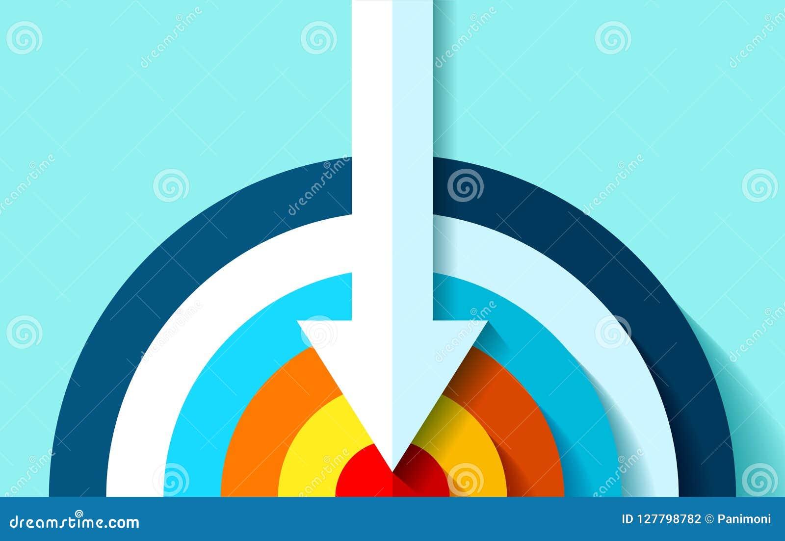 Volumen-Zielikone in der flachen Art auf Farbhintergrund Weißer Pfeil im Mittelziel Vektorgestaltungselement für Sie Geschäft pro