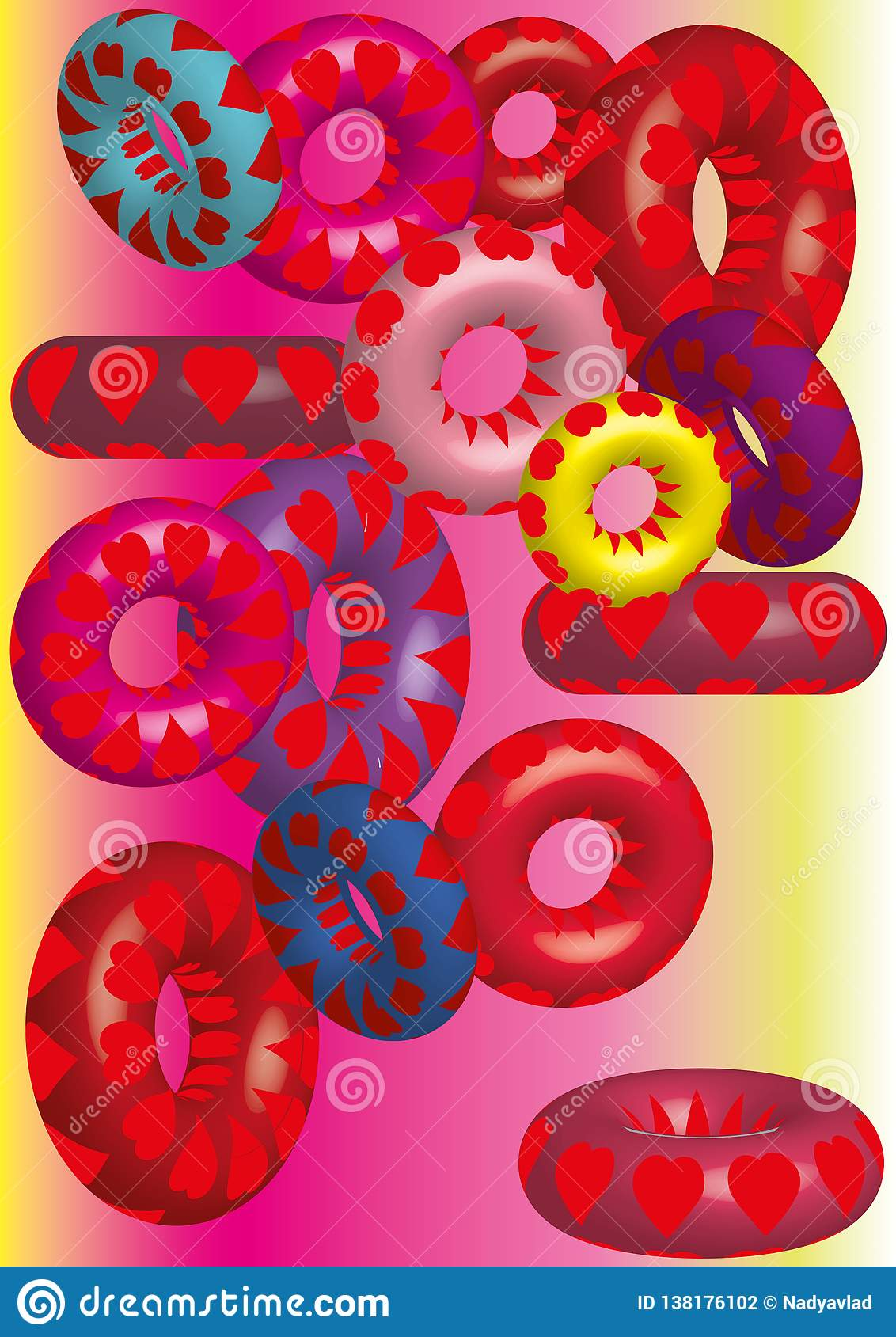 Volumetric colored circles, texture of hearts