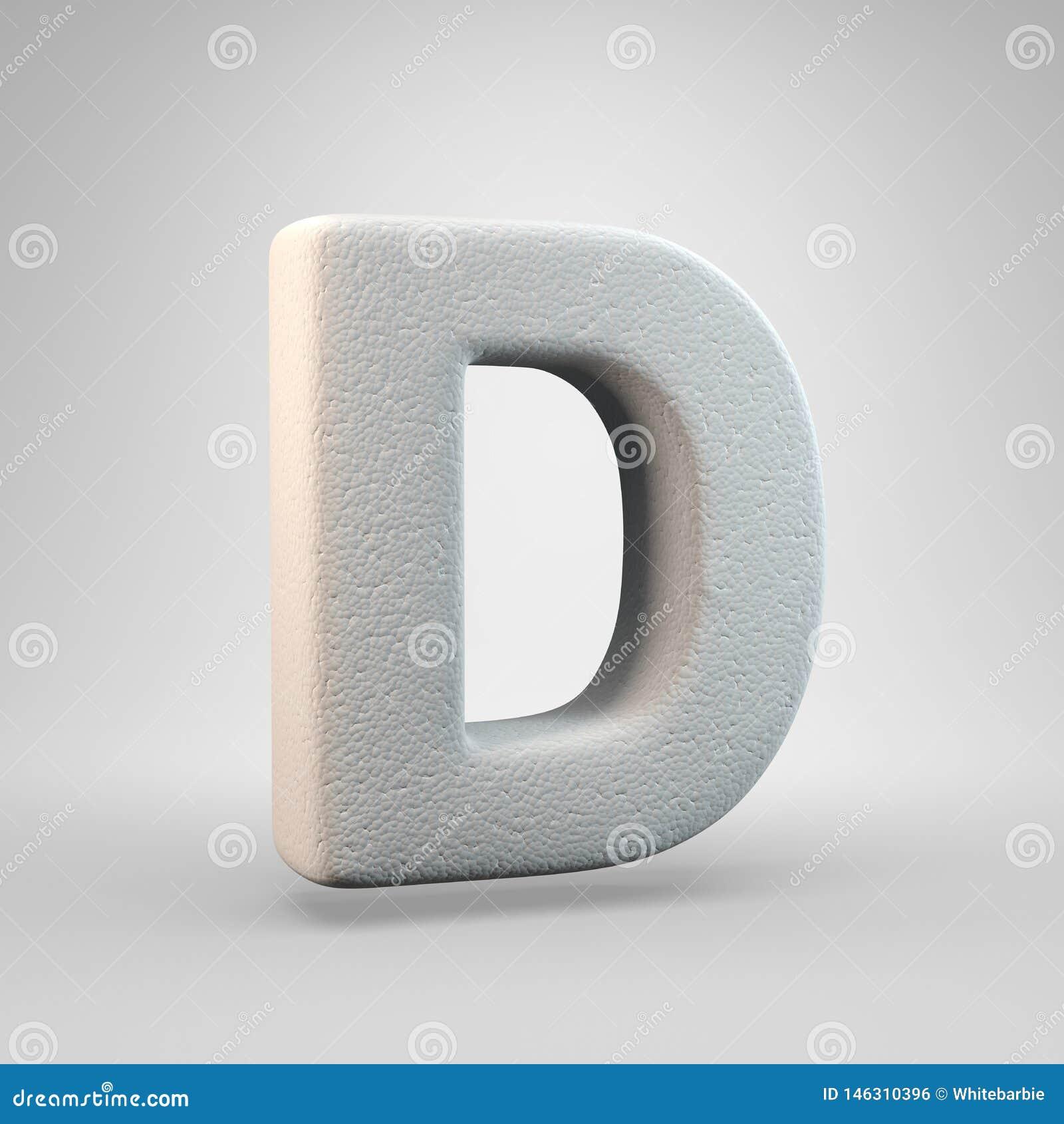 Volumetric construction foam uppercase letter D isolated on white background