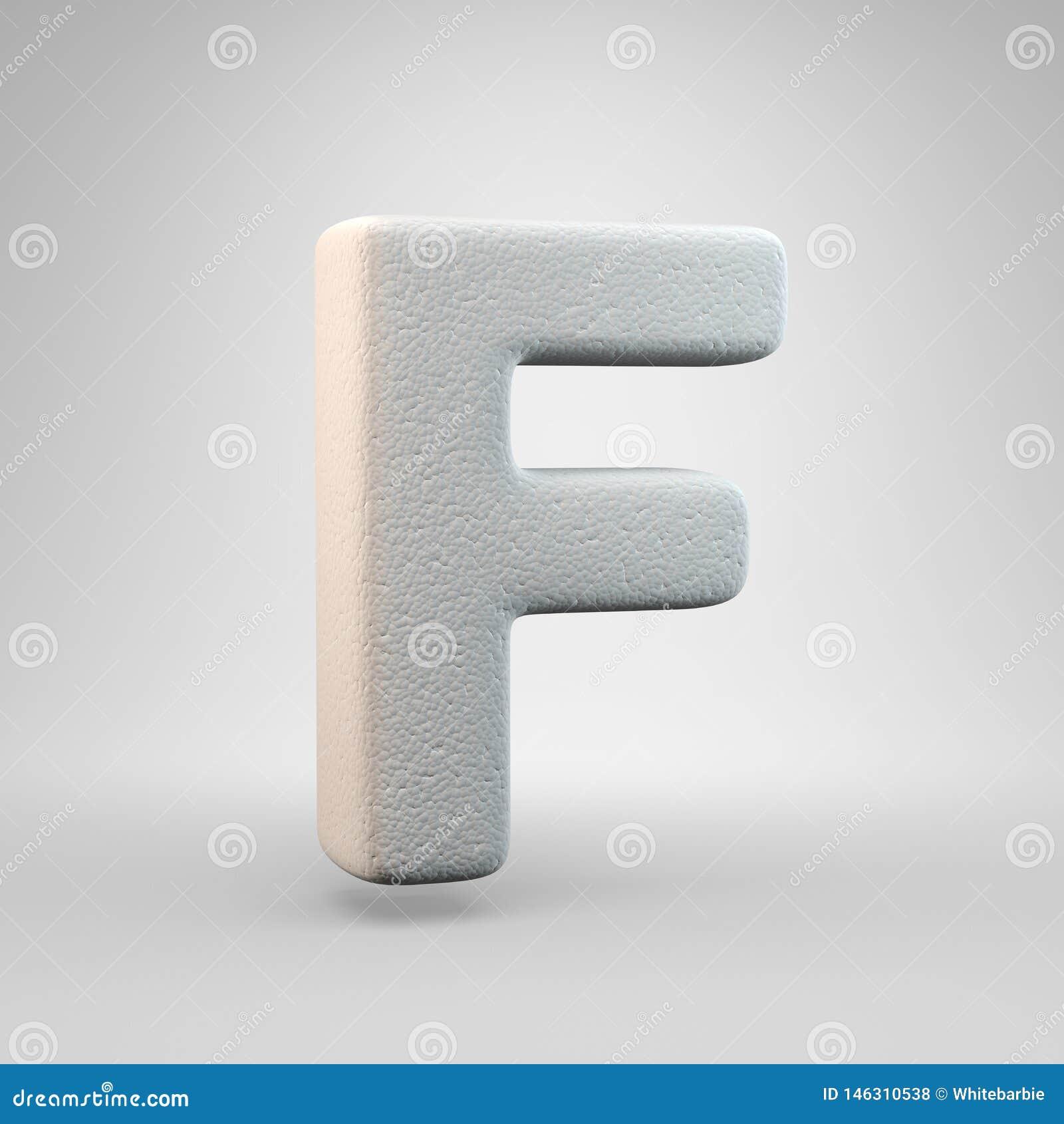 Volumetric construction foam uppercase letter F isolated on white background