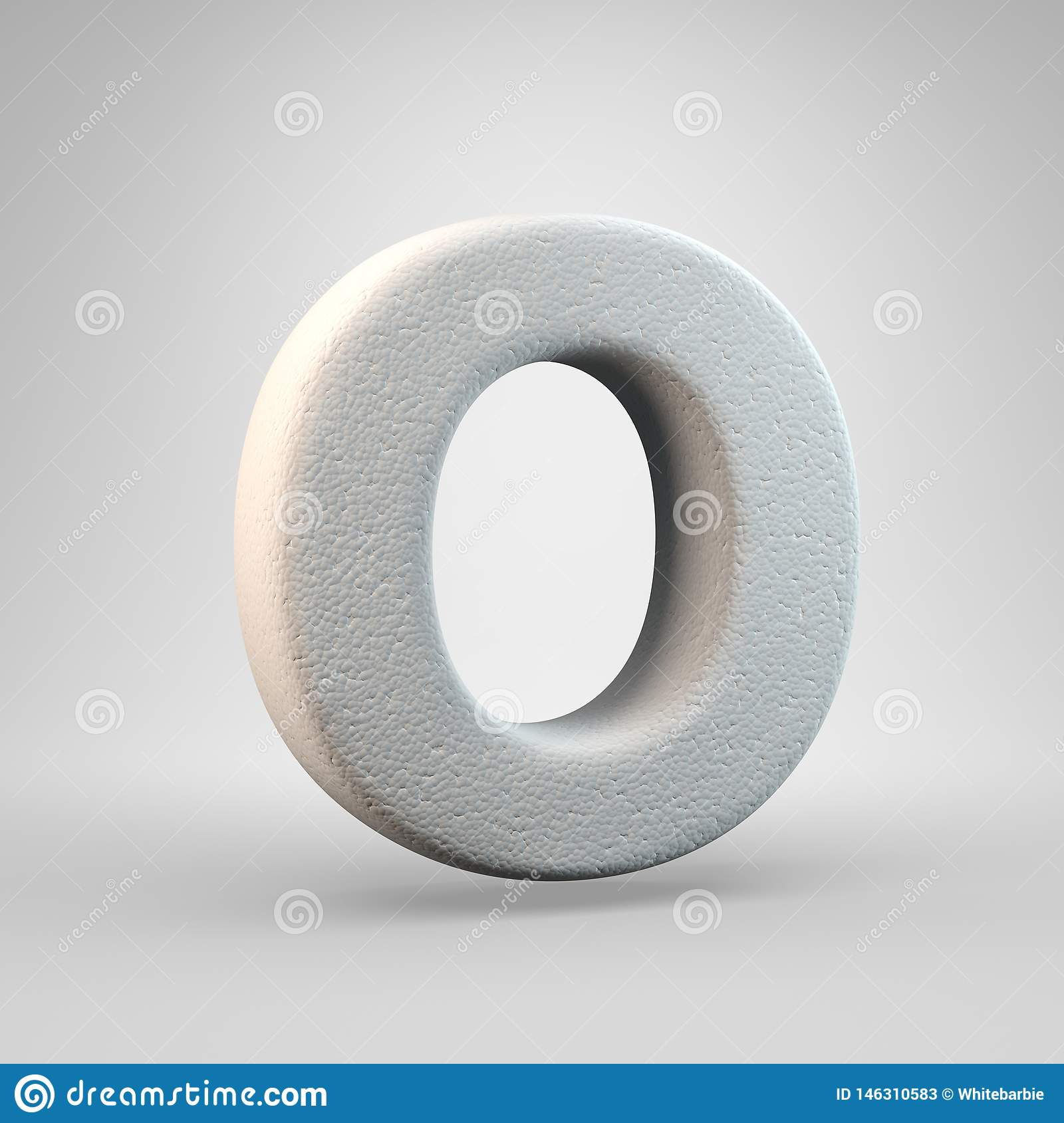Volumetric construction foam uppercase letter O isolated on white background