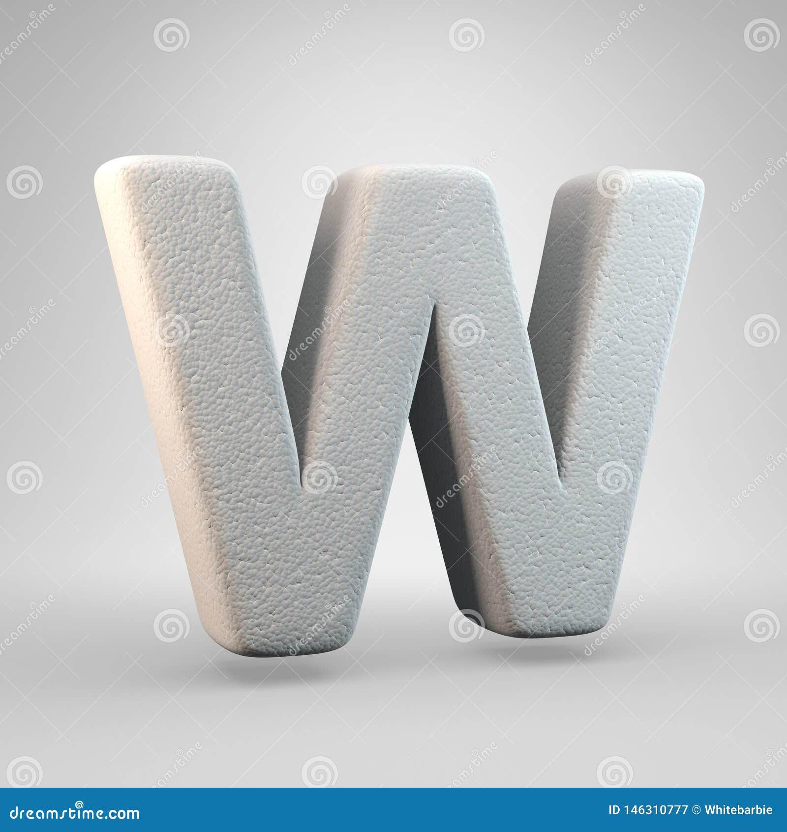 Volumetric construction foam uppercase letter W isolated on white background