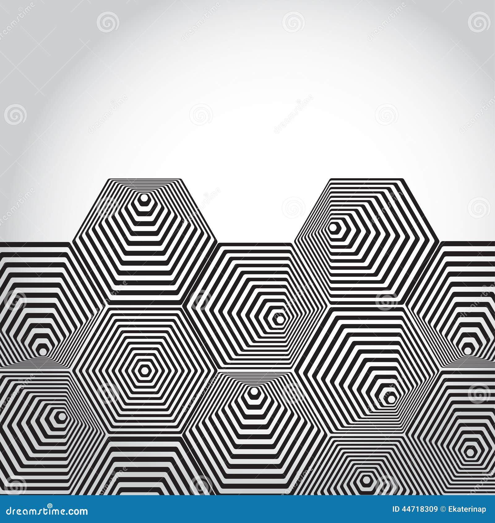 Volumetric 3d Pyramid Hexagon Optical Illusion