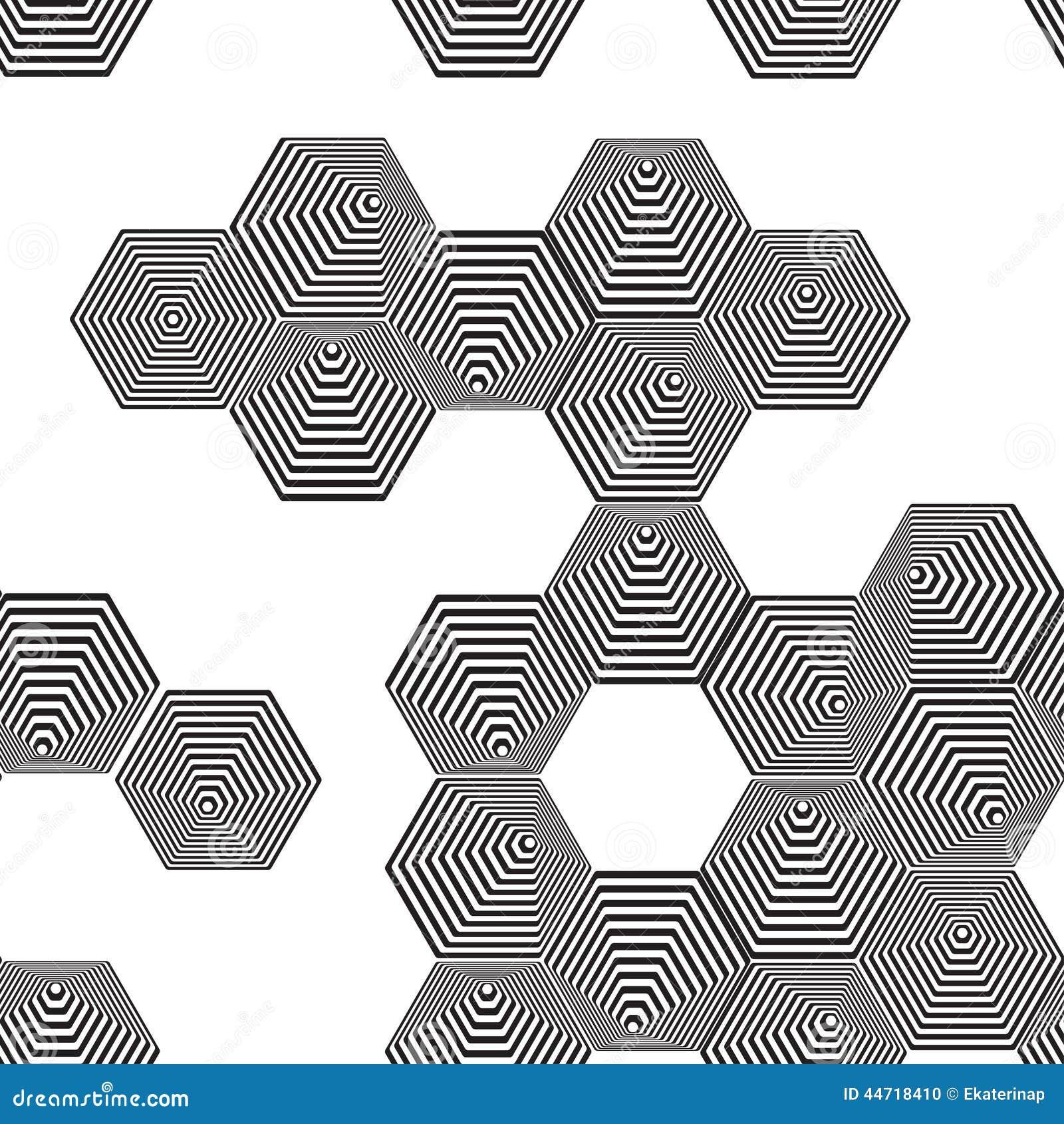 Volumetric 3D Pyramid Seamless Pattern. Hexagon. Optical Illusio ...