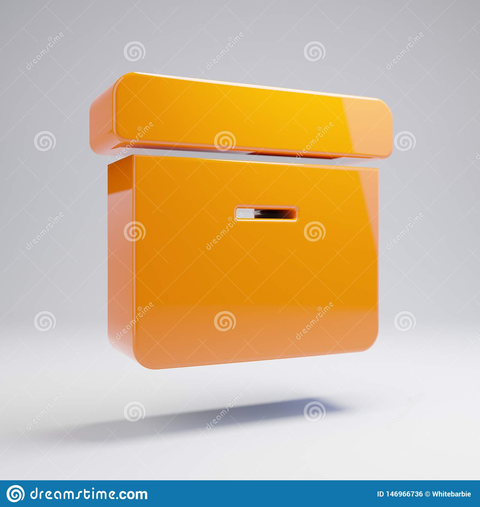 Volumetric glossy hot orange Archive icon isolated on white background