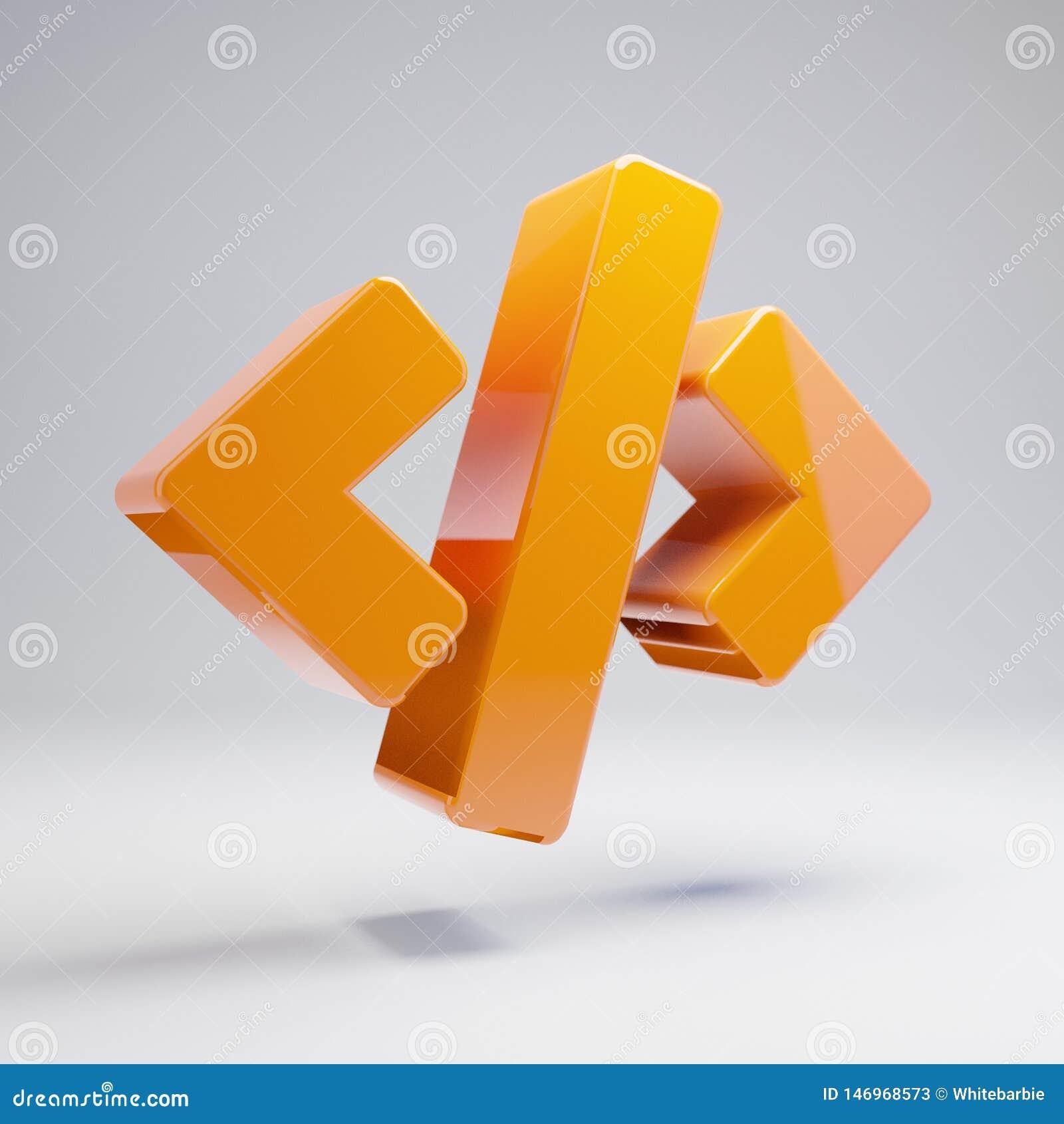 Volumetric glossy hot orange Code icon isolated on white background