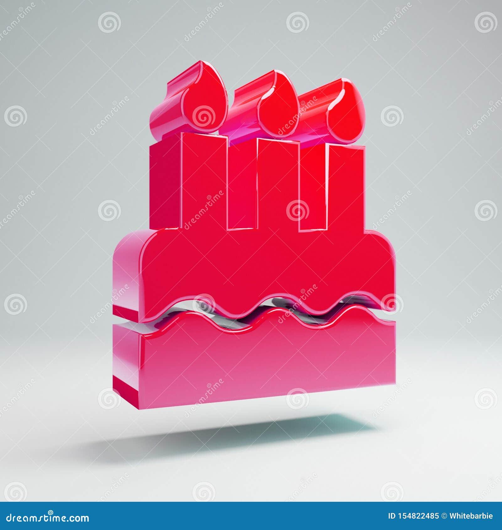 Brilliant Volumetric Glossy Hot Pink Birthday Cake Icon Isolated On White Birthday Cards Printable Inklcafe Filternl