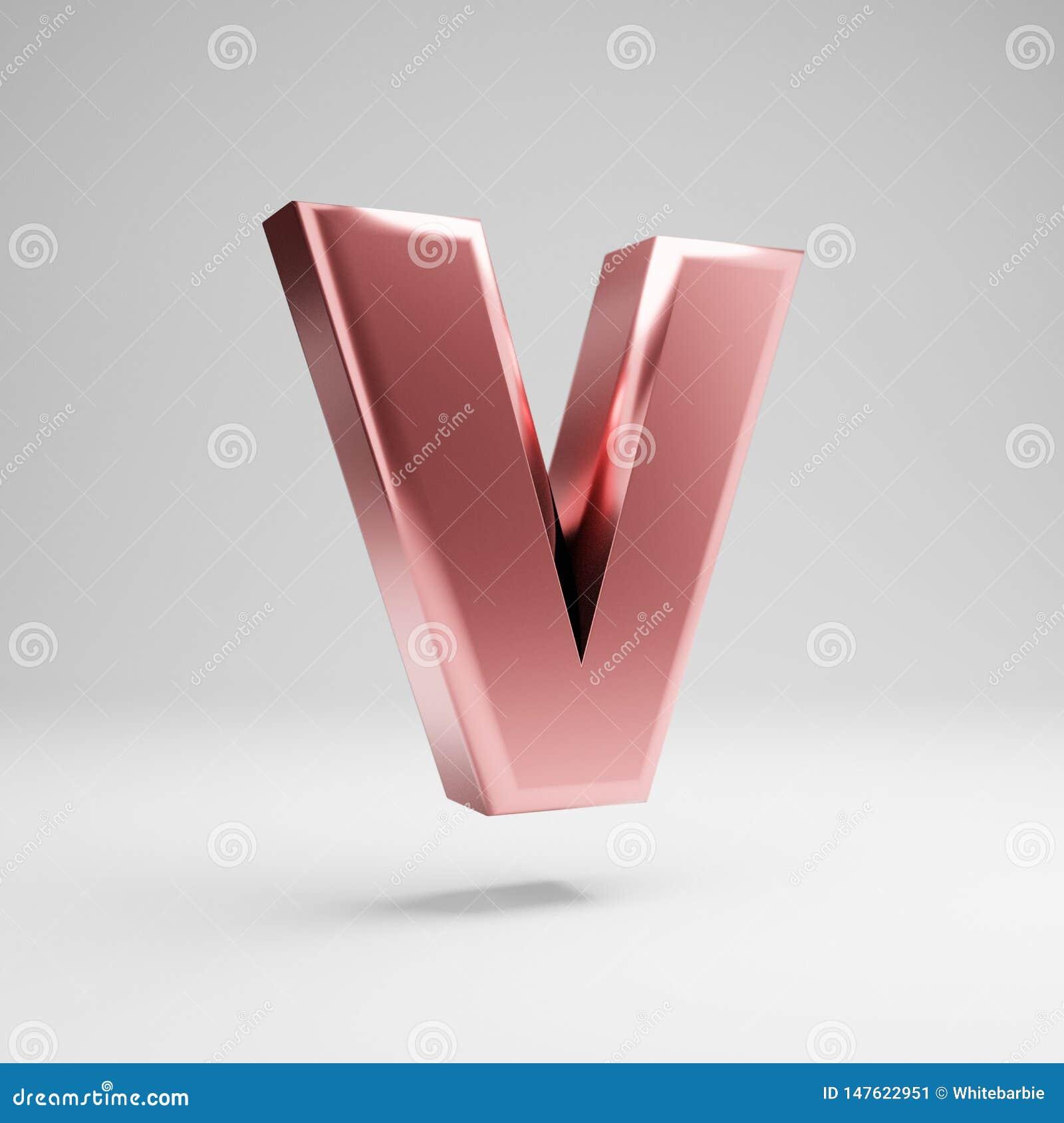 Volumetric glossy Rose Gold uppercase letter V isolated on white background