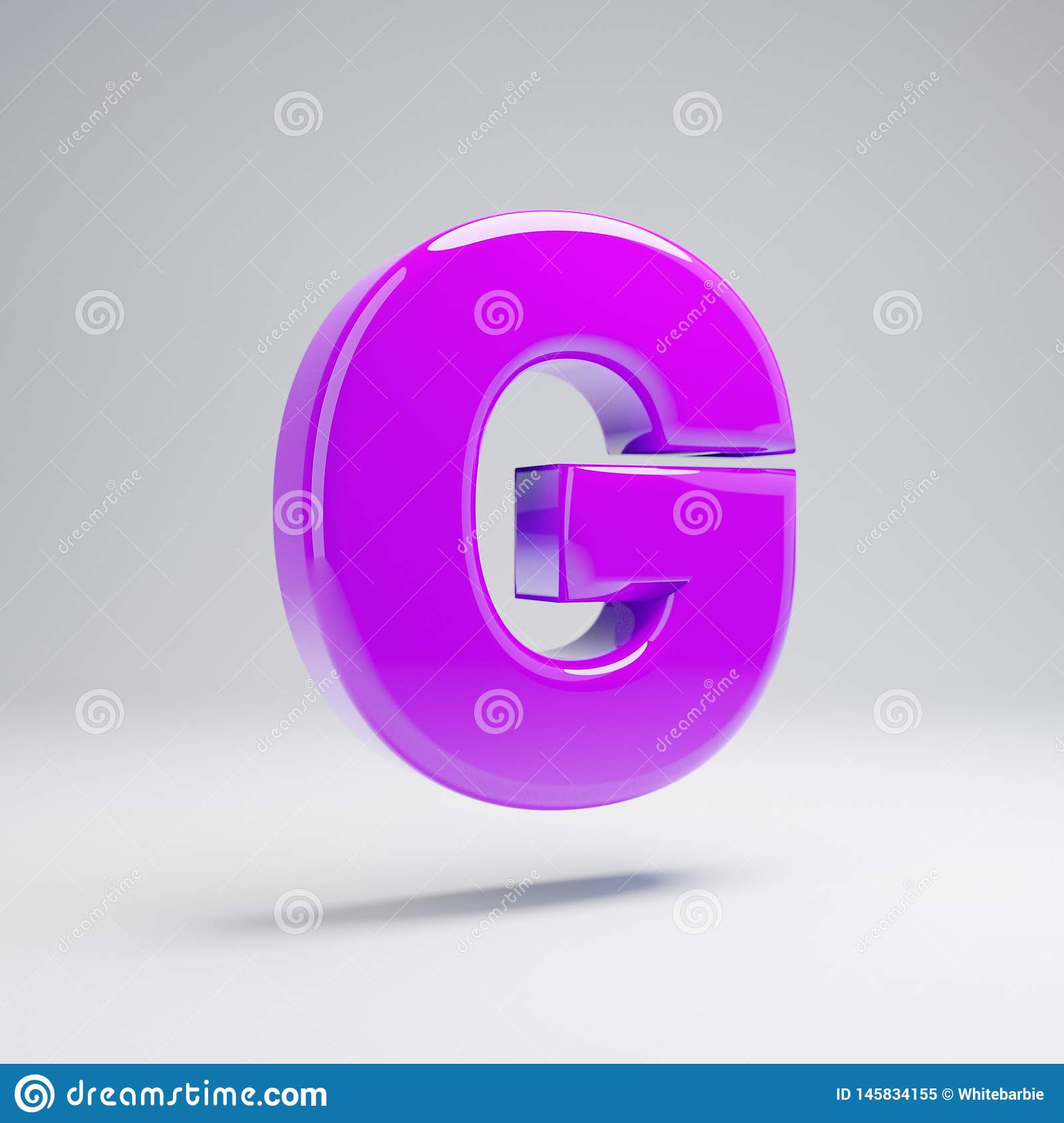 Volumetric glossy violet uppercase letter G isolated on white background