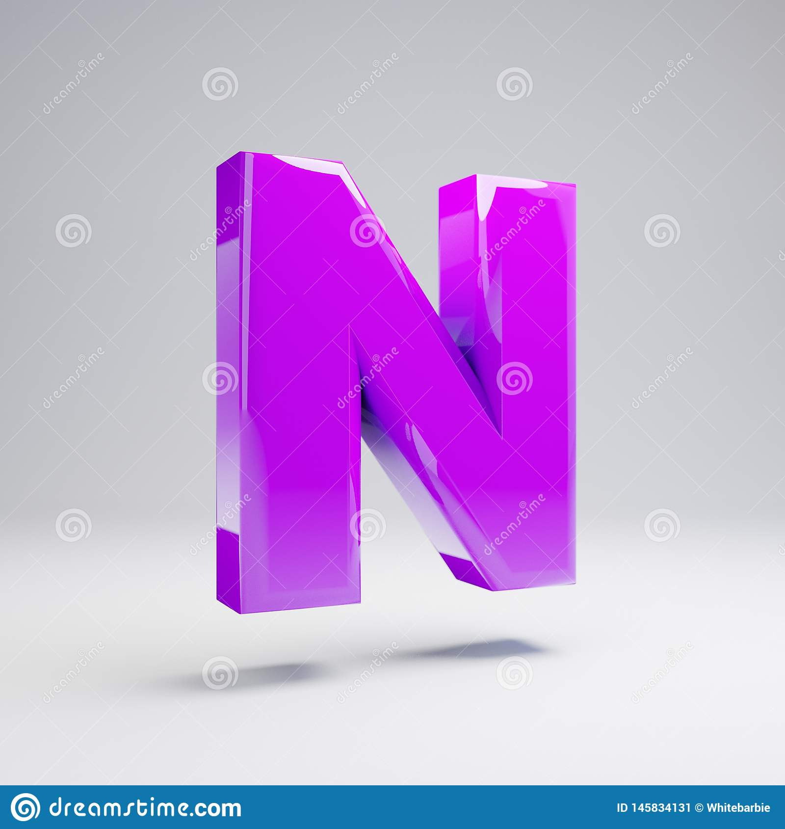 Volumetric glossy violet uppercase letter N isolated on white background