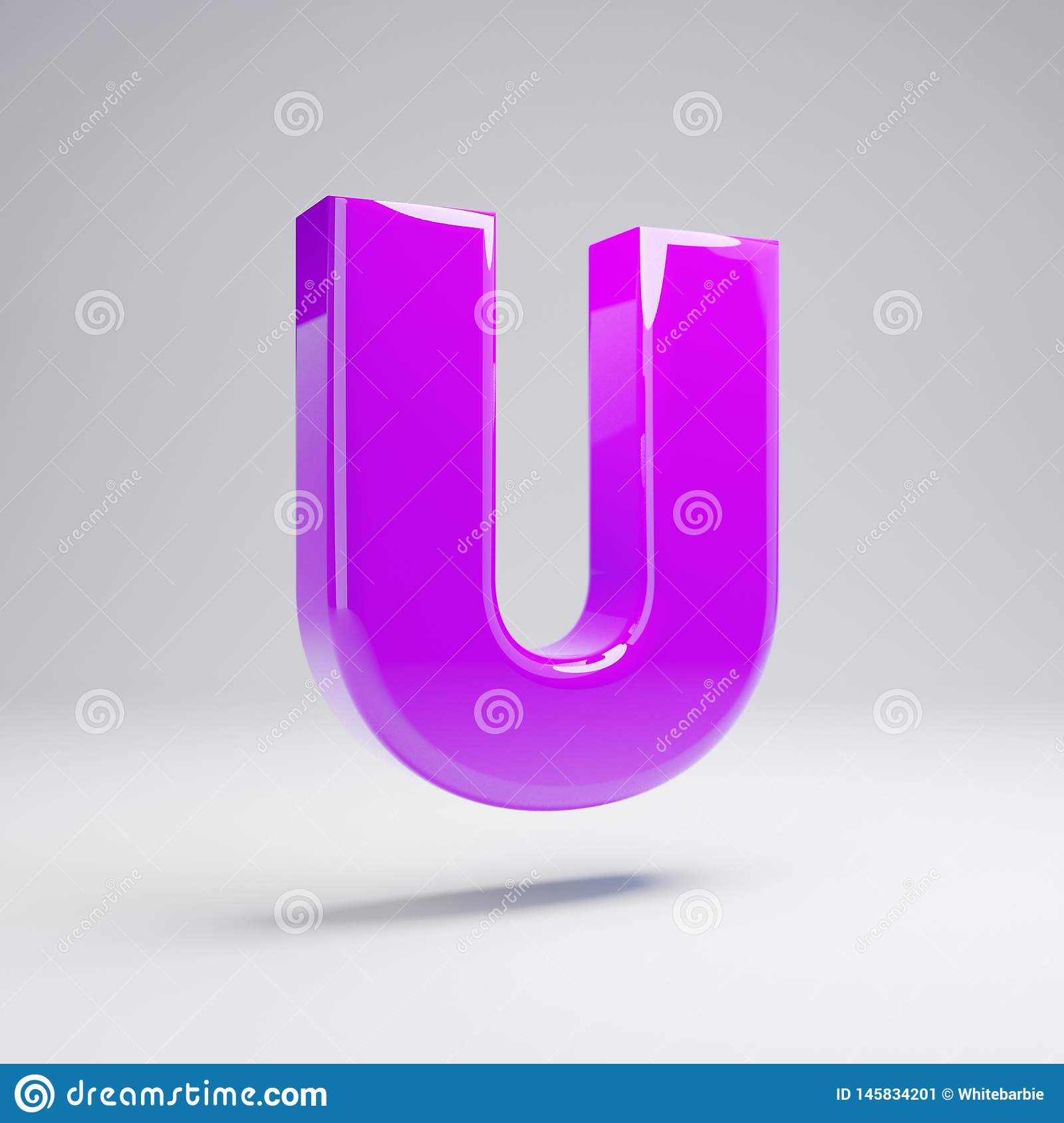 Volumetric glossy violet uppercase letter U isolated on white background
