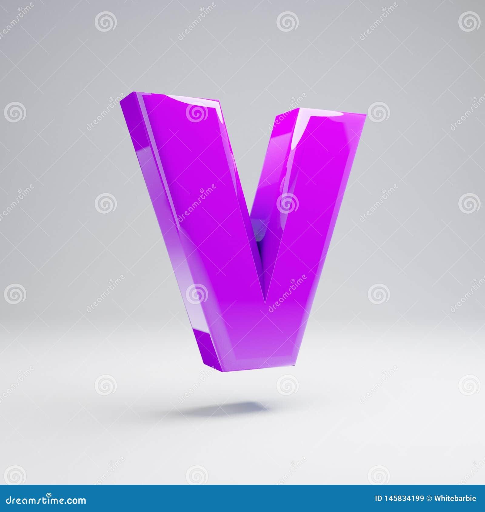 Volumetric glossy violet uppercase letter V isolated on white background