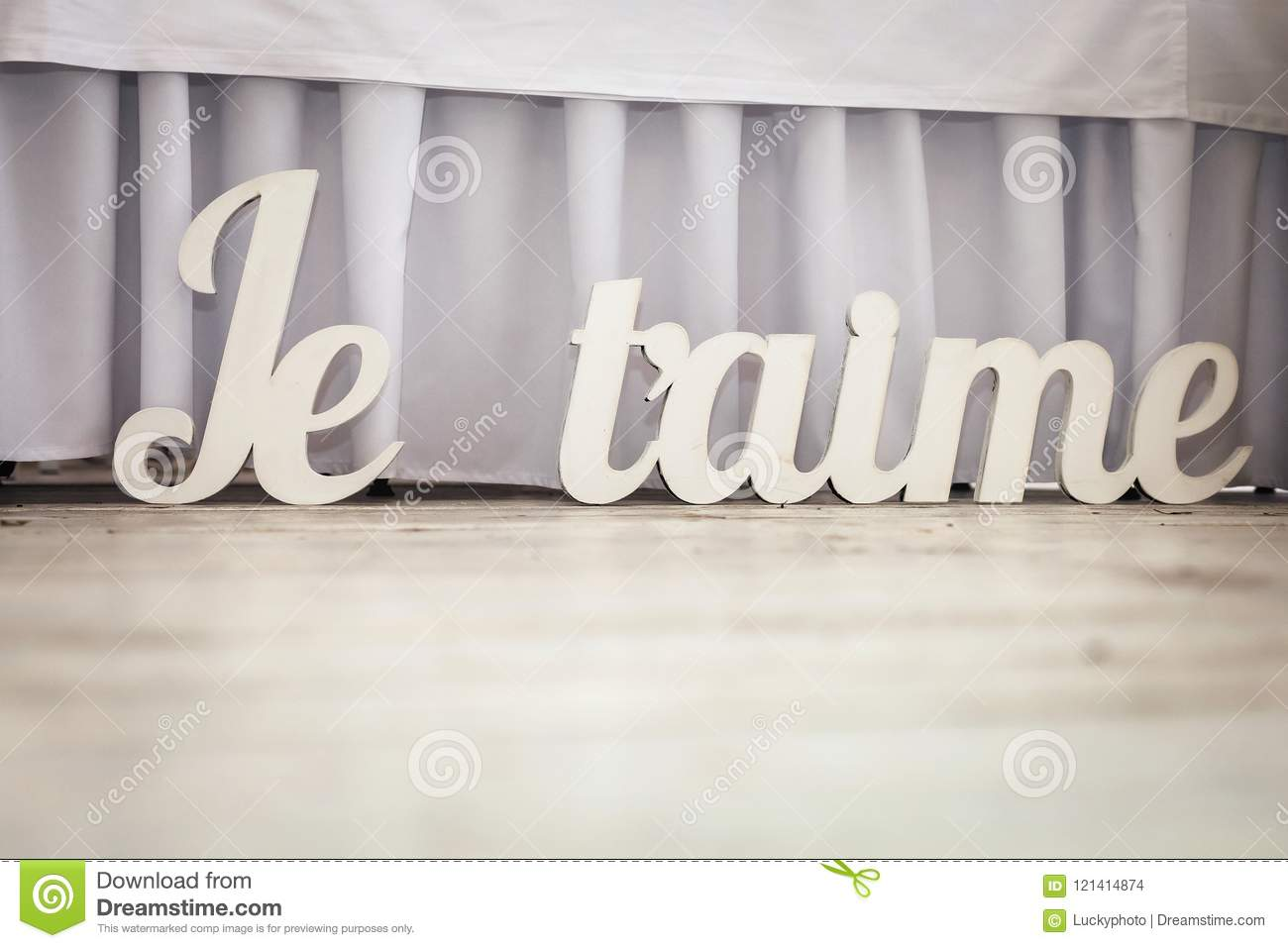 Volumetric White Wedding French Letters Stock Photo - Image of light ...