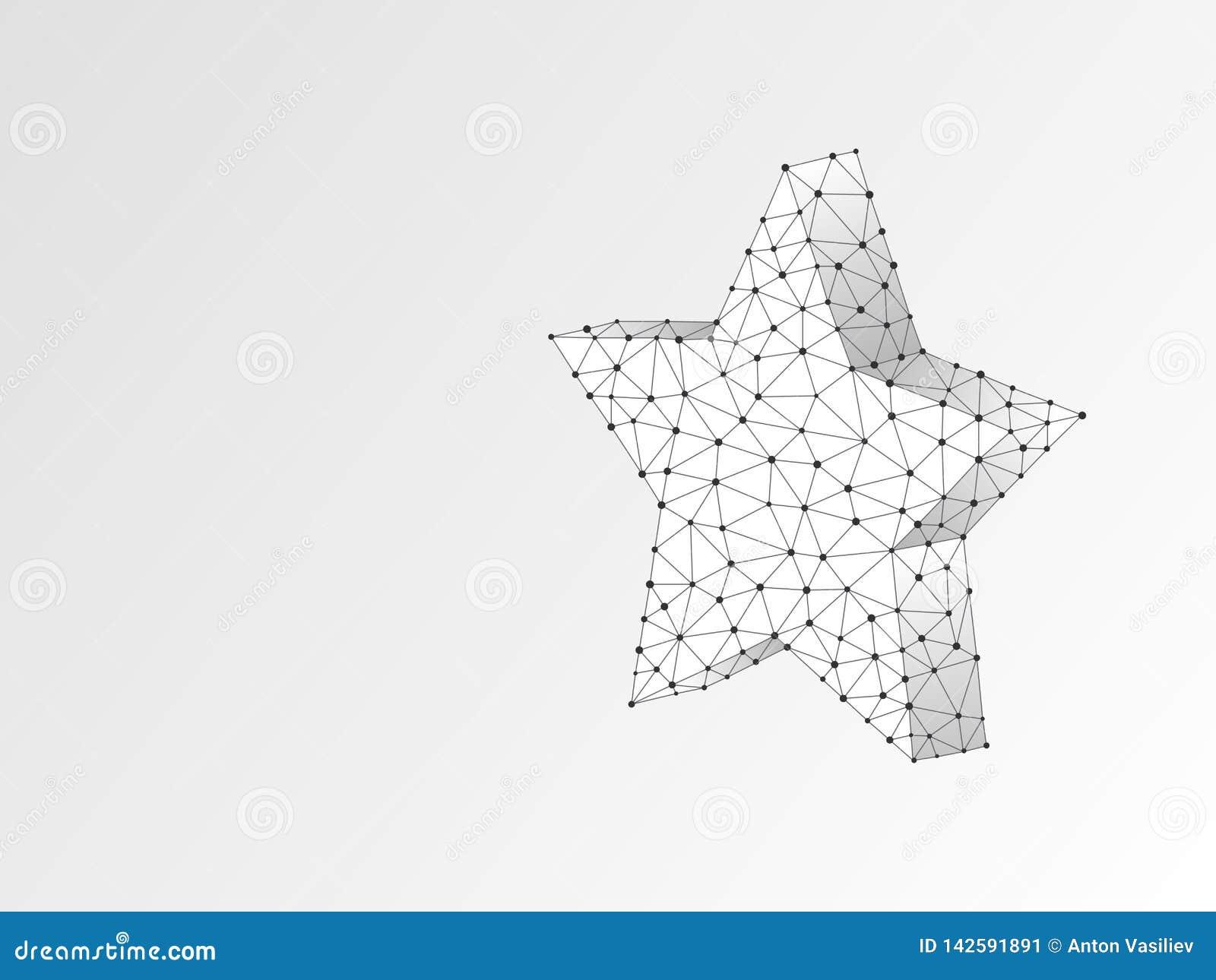 Volumetrische 3d ster met vijf stralen Vectororigami Veelhoekige ruimte lage polyster in het hemelconcept Punten en lijnen