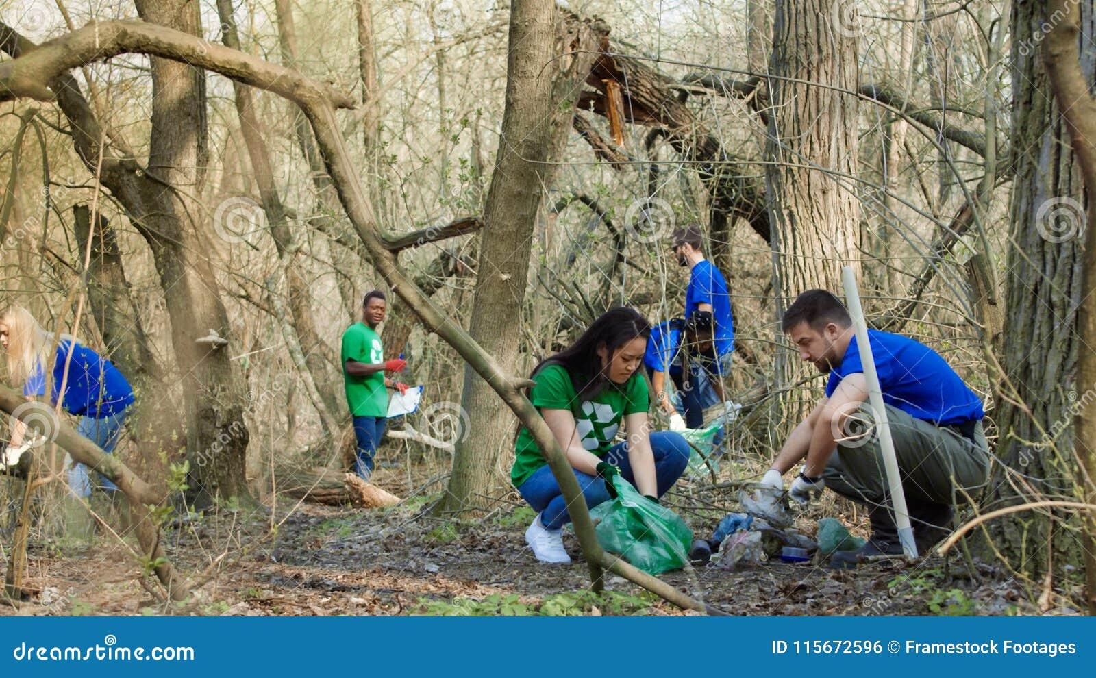 Voluntários que recolhem o lixo nas madeiras