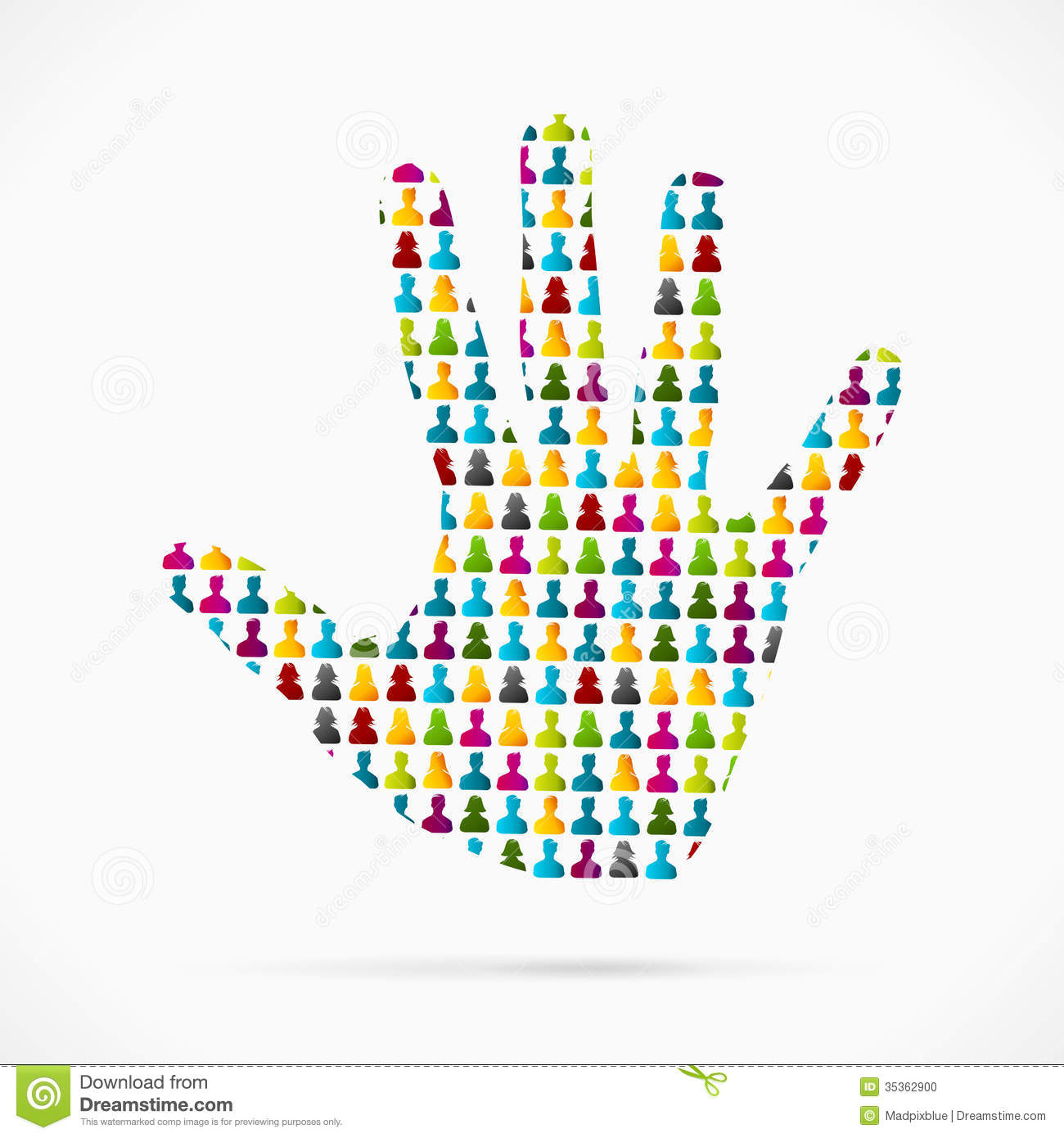 Abstract volunteer hand made out of large group of people.