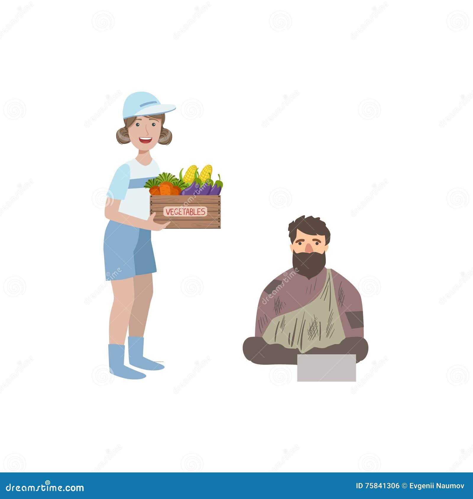 Volunteer Giving Food ...