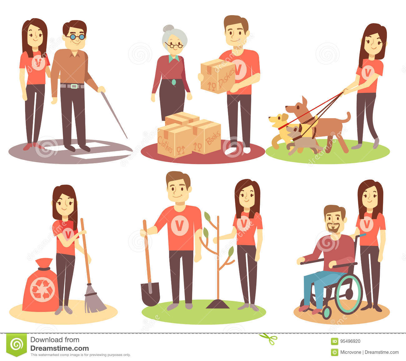 Disabled People Vector Set Old And Young Invalid Persons
