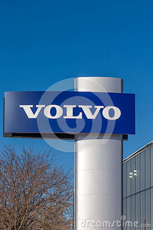volvo automobile dealership and sign editorial stock photo - image
