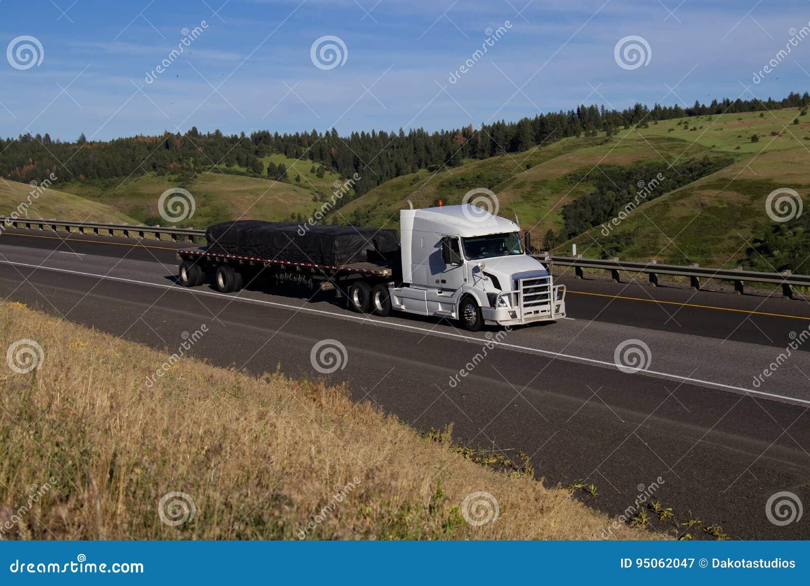 Volvo bianco/Semi-camion caricato