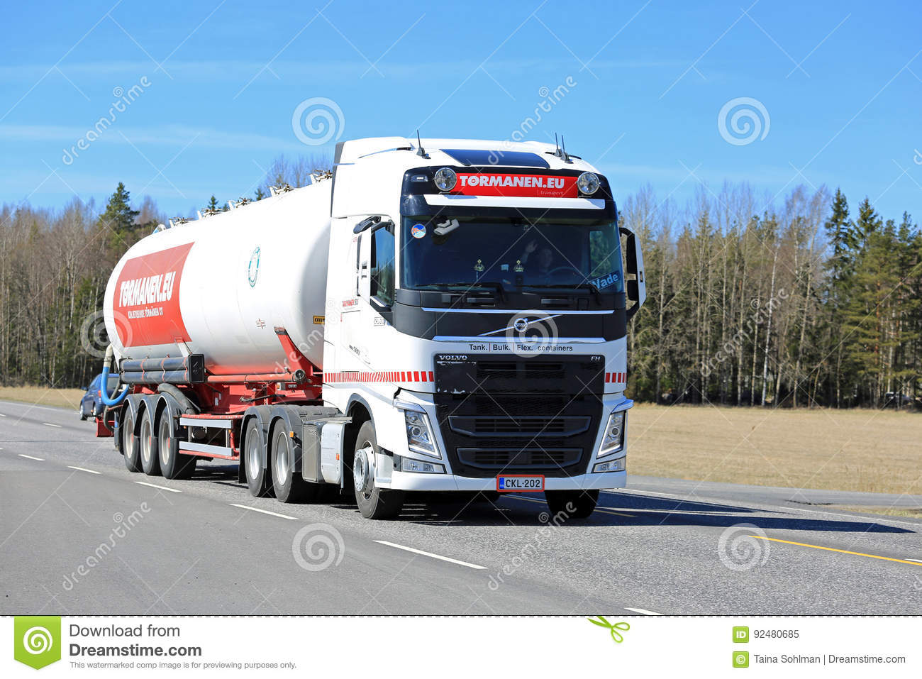 Volvo Fh Semi Tank Truck On The Road At Spring Editorial Image