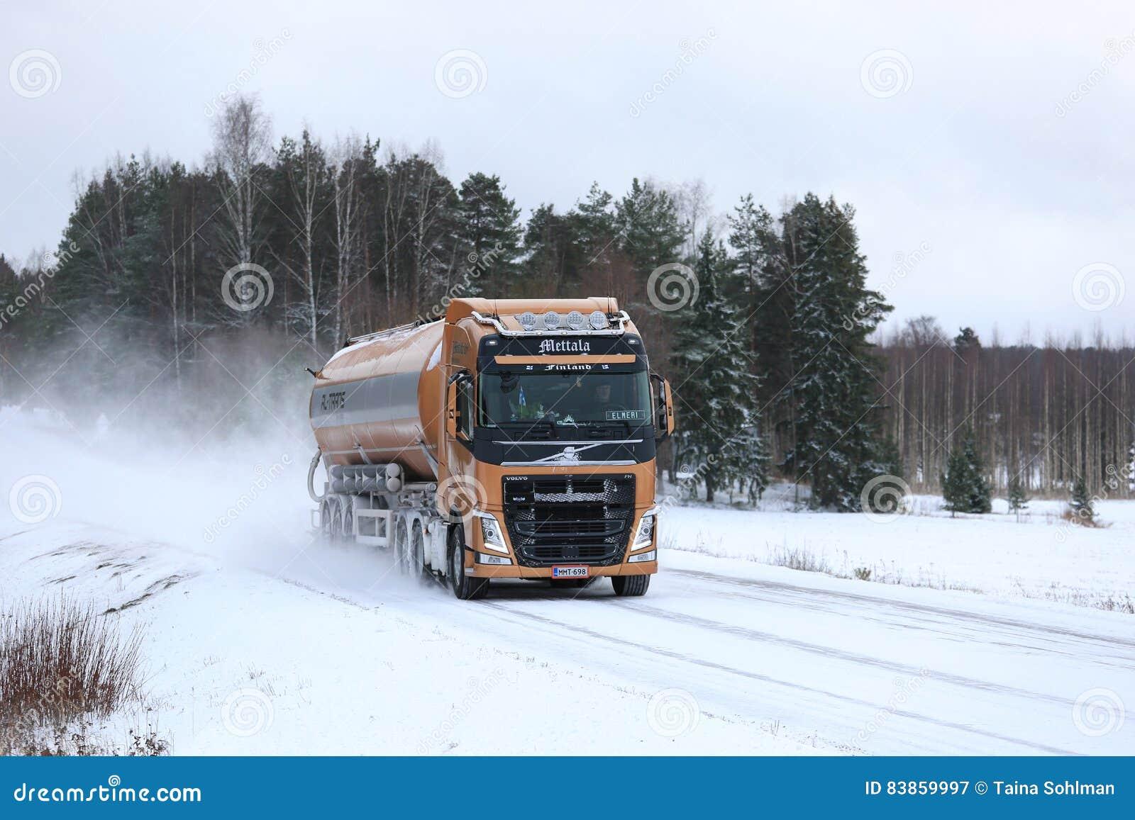 Volvo FH Semi Tank Truck On Snowy Highway. SALO, FINLAND   JANUARY 7,