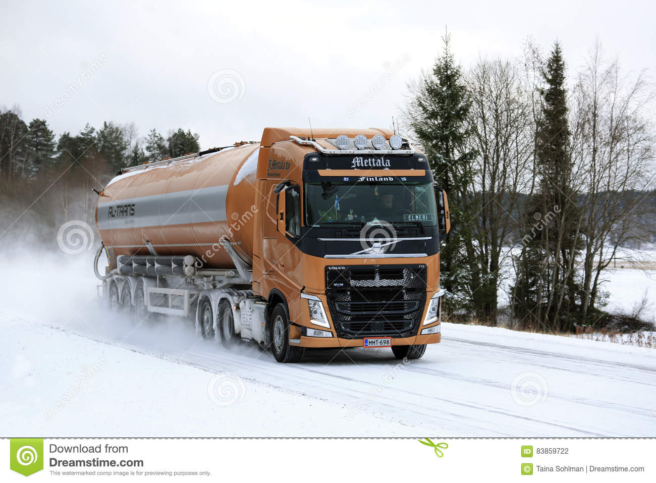Volvo Fh Semi Tanker On Snowy Highway Editorial Photography Image