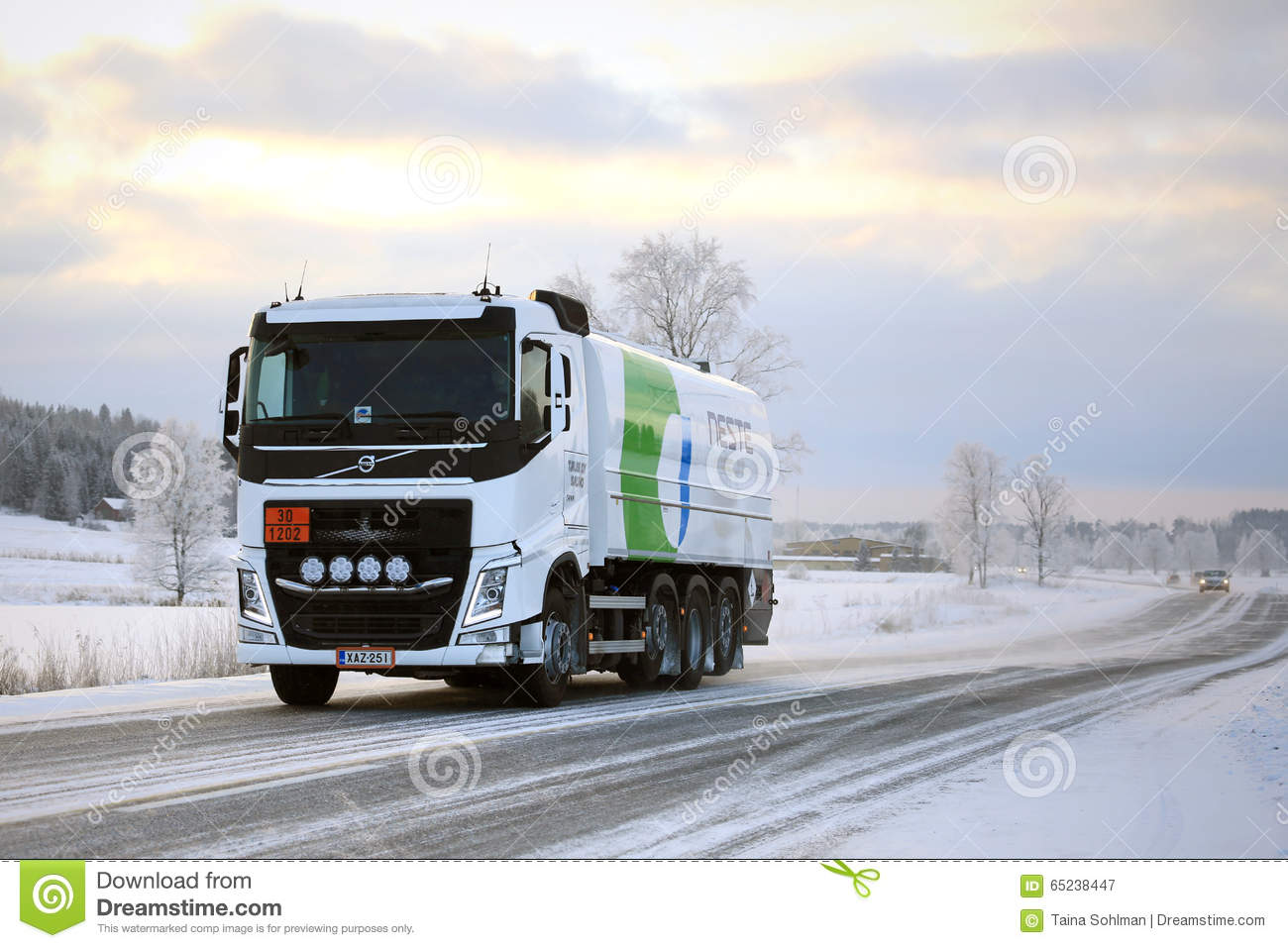 Volvo FH Tank Truck Hauls Diesel Fuel In Winter Editorial Photography - Image: 65238447