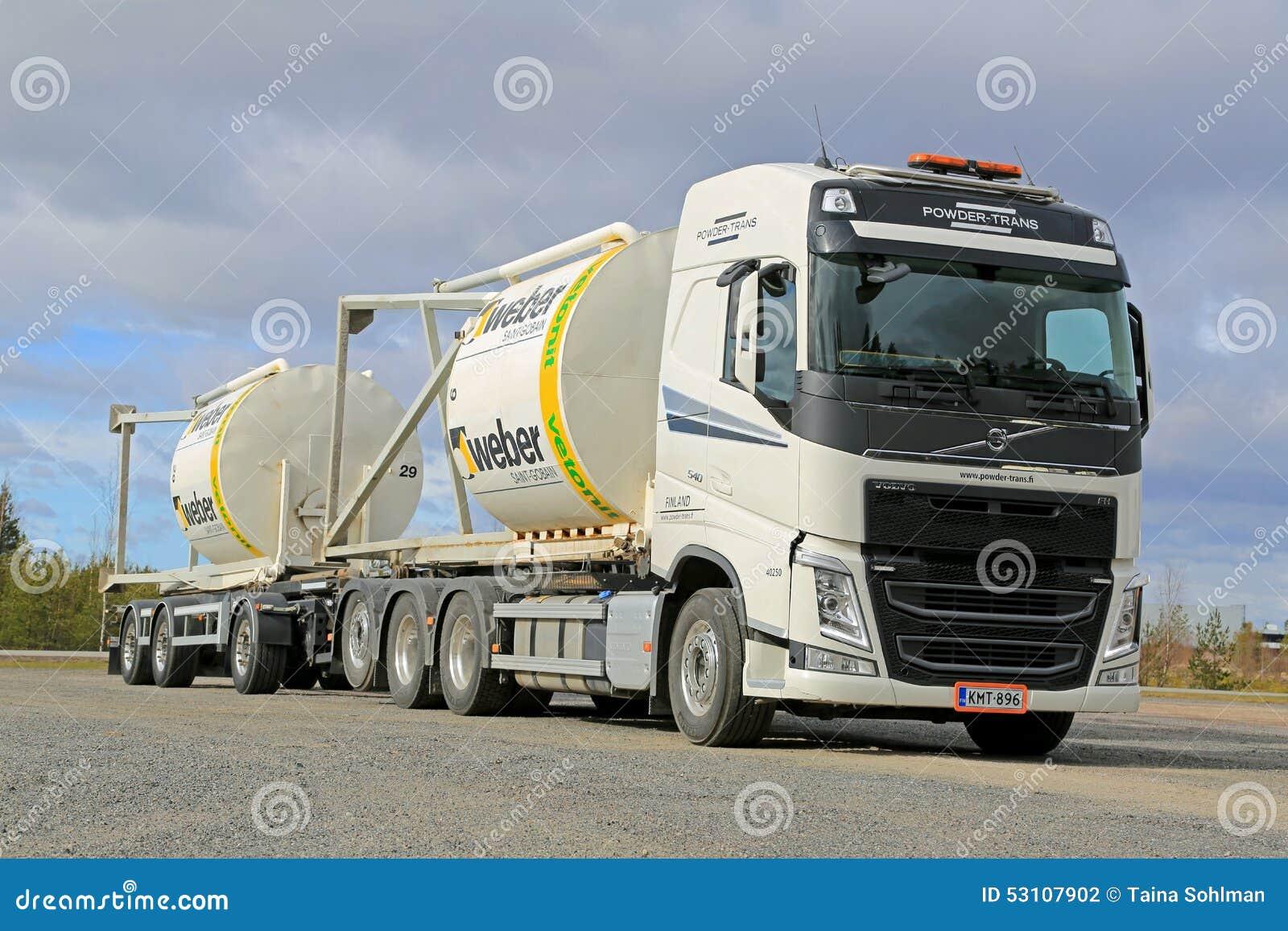 Volvo FH Truck Transports Construction Materials In Silos. LIETO, FINLAND    APRIL 19,