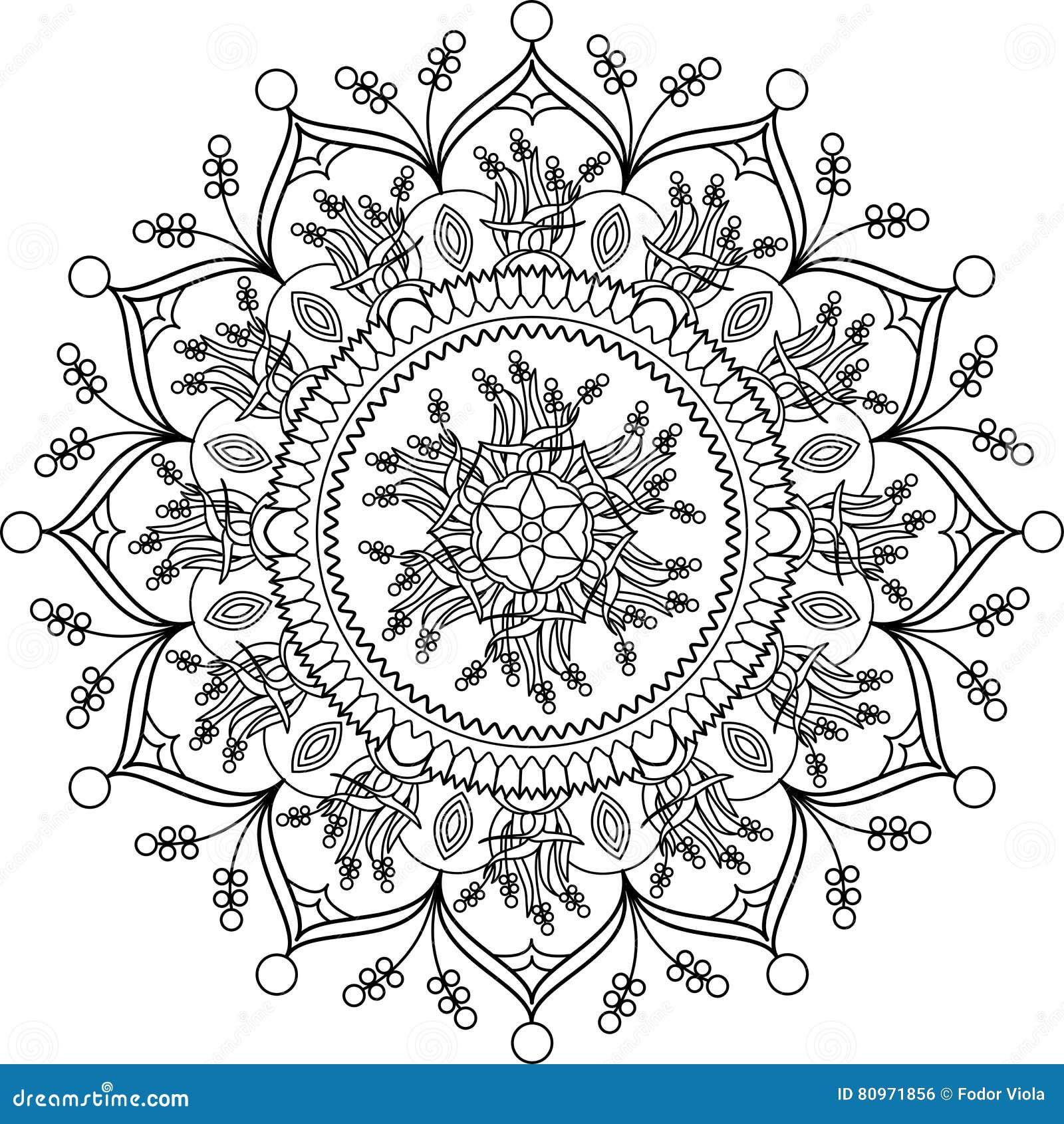 Volwassen Kleurende Pagina Mandala Met Bloemen Vector Illustratie