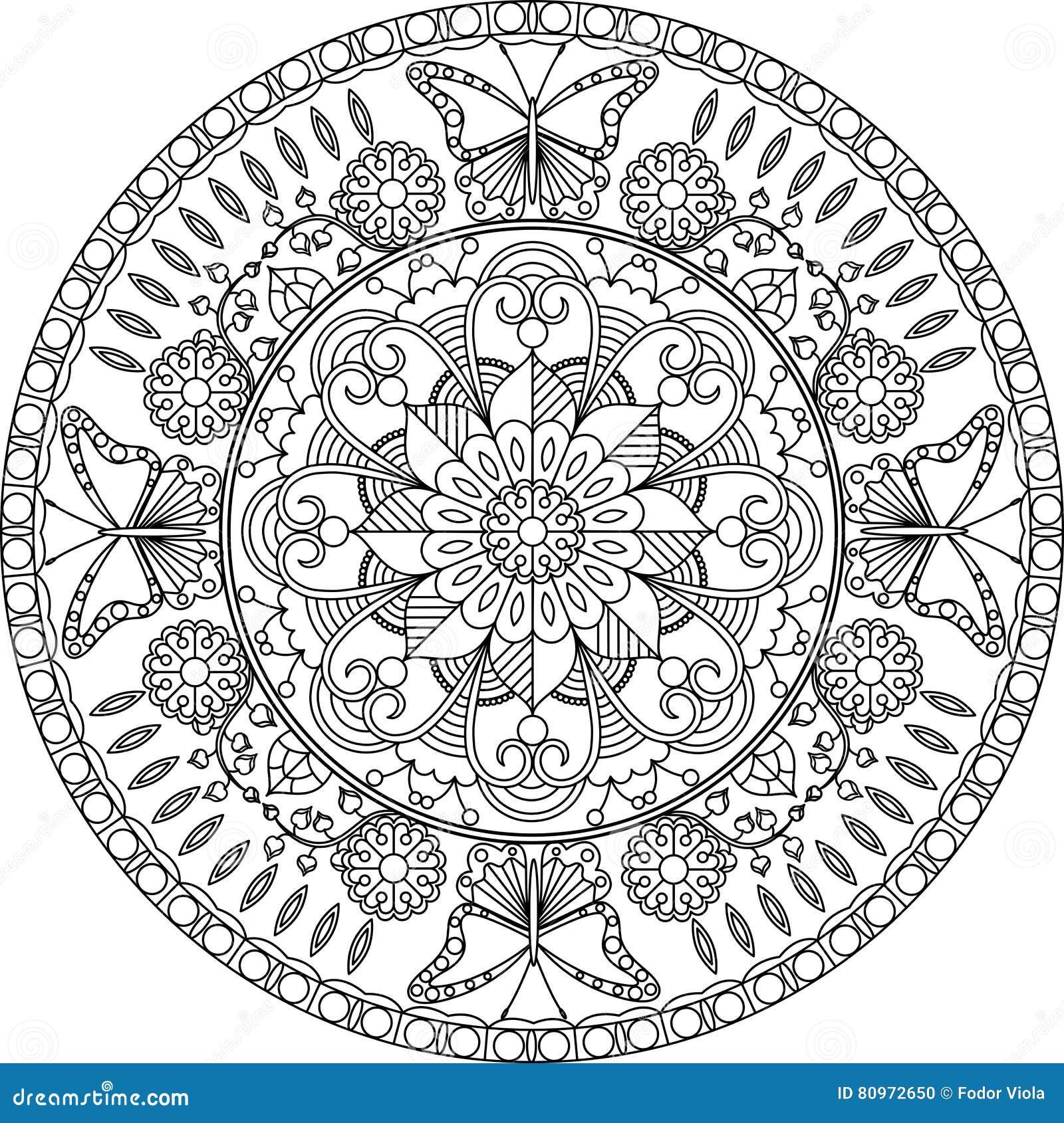 volwassen kleurende pagina mandala met bloemen en