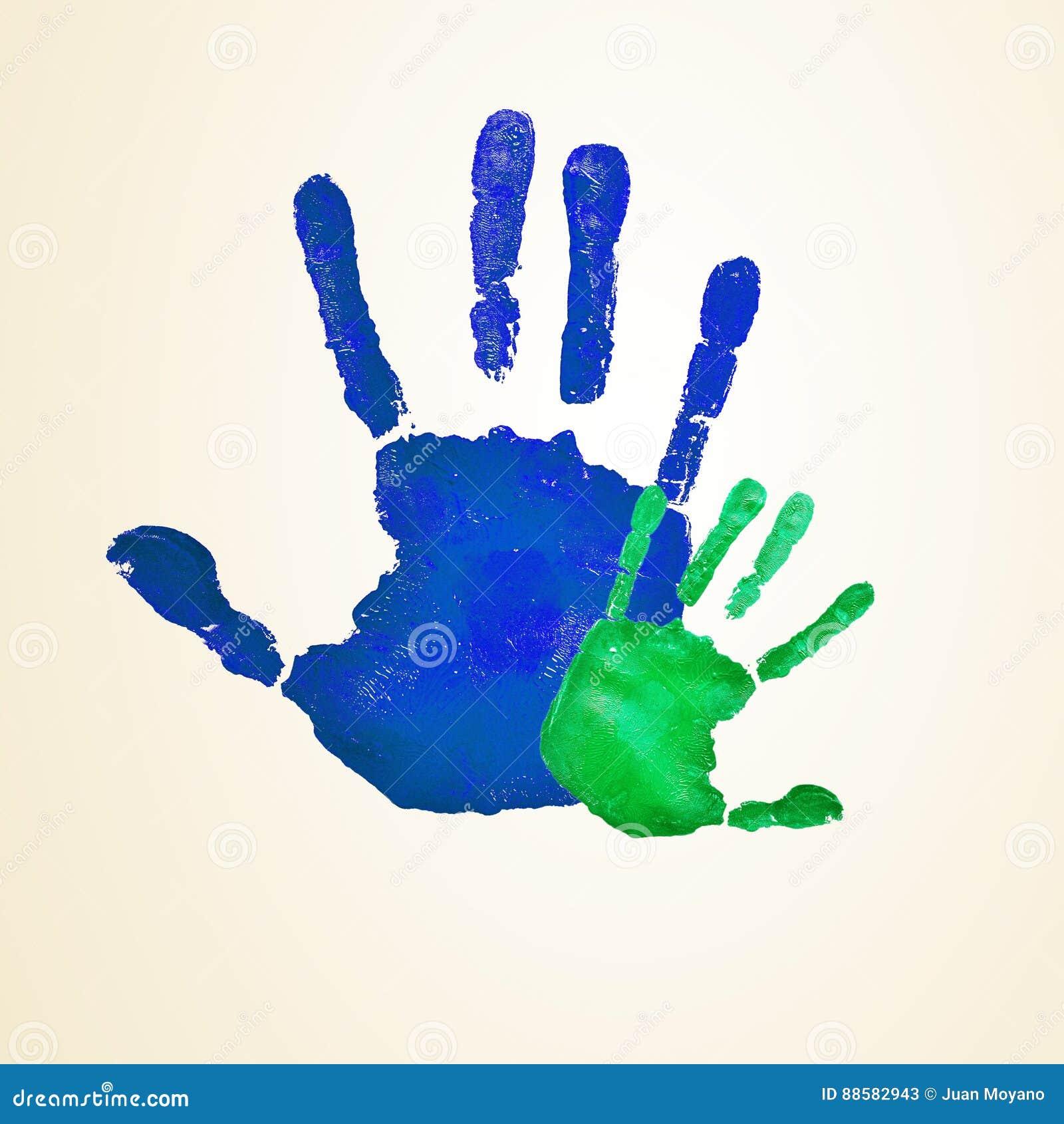 Volwassene en zuigeling handprints