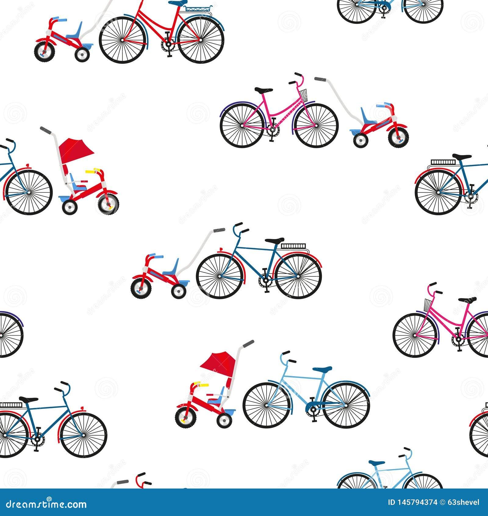 Volwassenen en van kinderen fietsen Naadloze vector