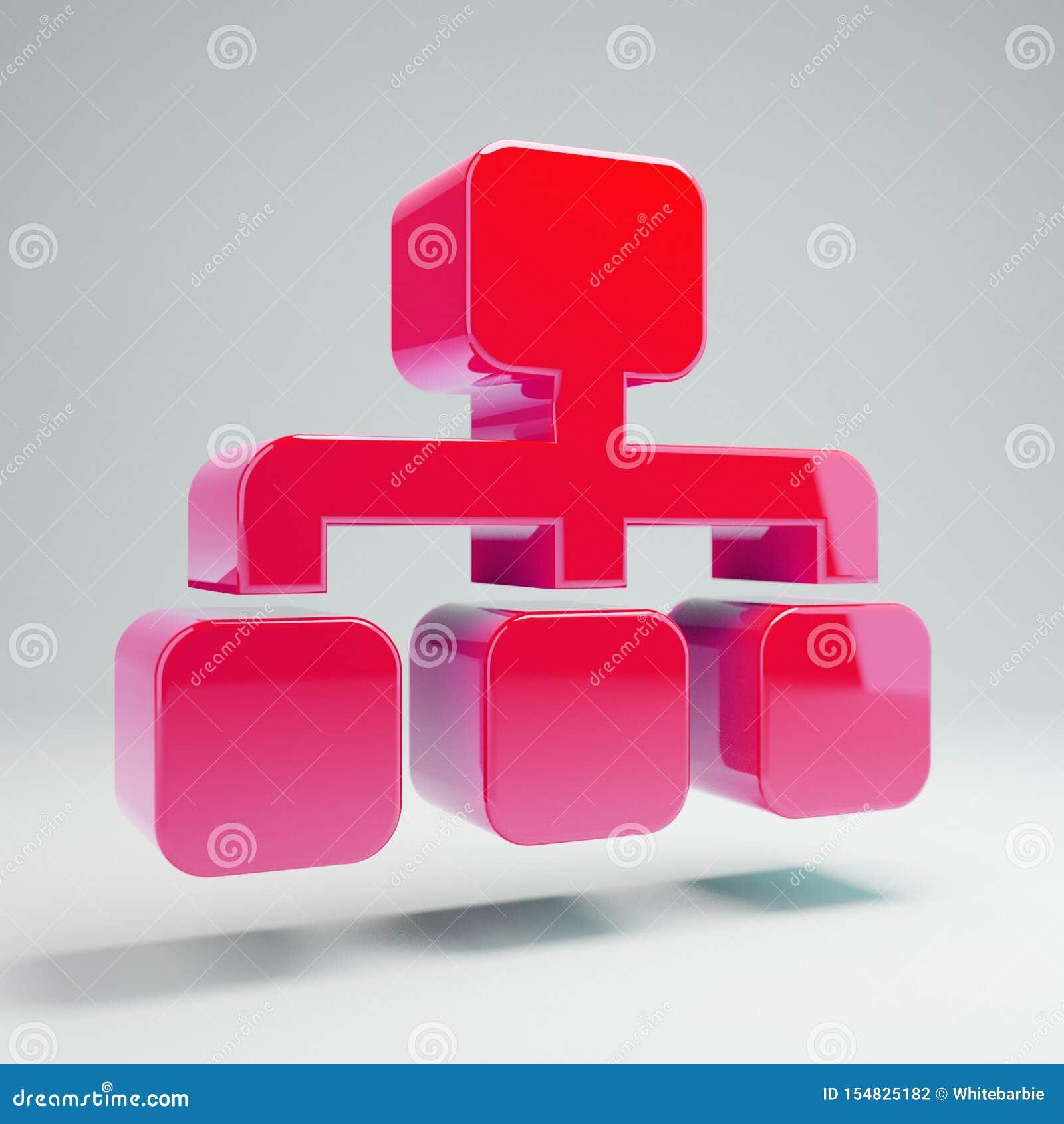 Volymetrisk glansig Sitemap för varma rosa färger som symbol isoleras på vit bakgrund