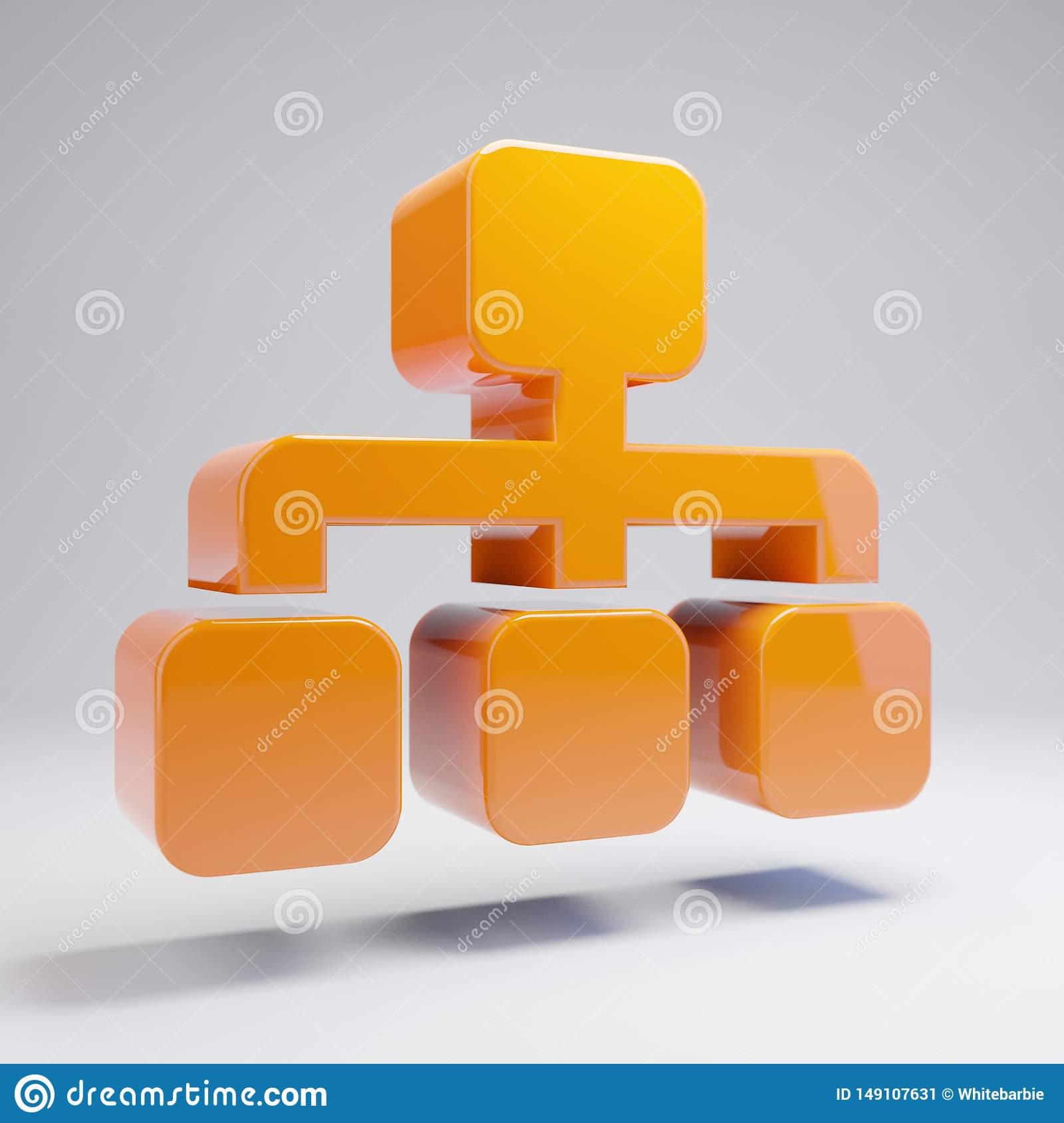 Volymetrisk glansig varm orange Sitemap symbol som isoleras på vit bakgrund