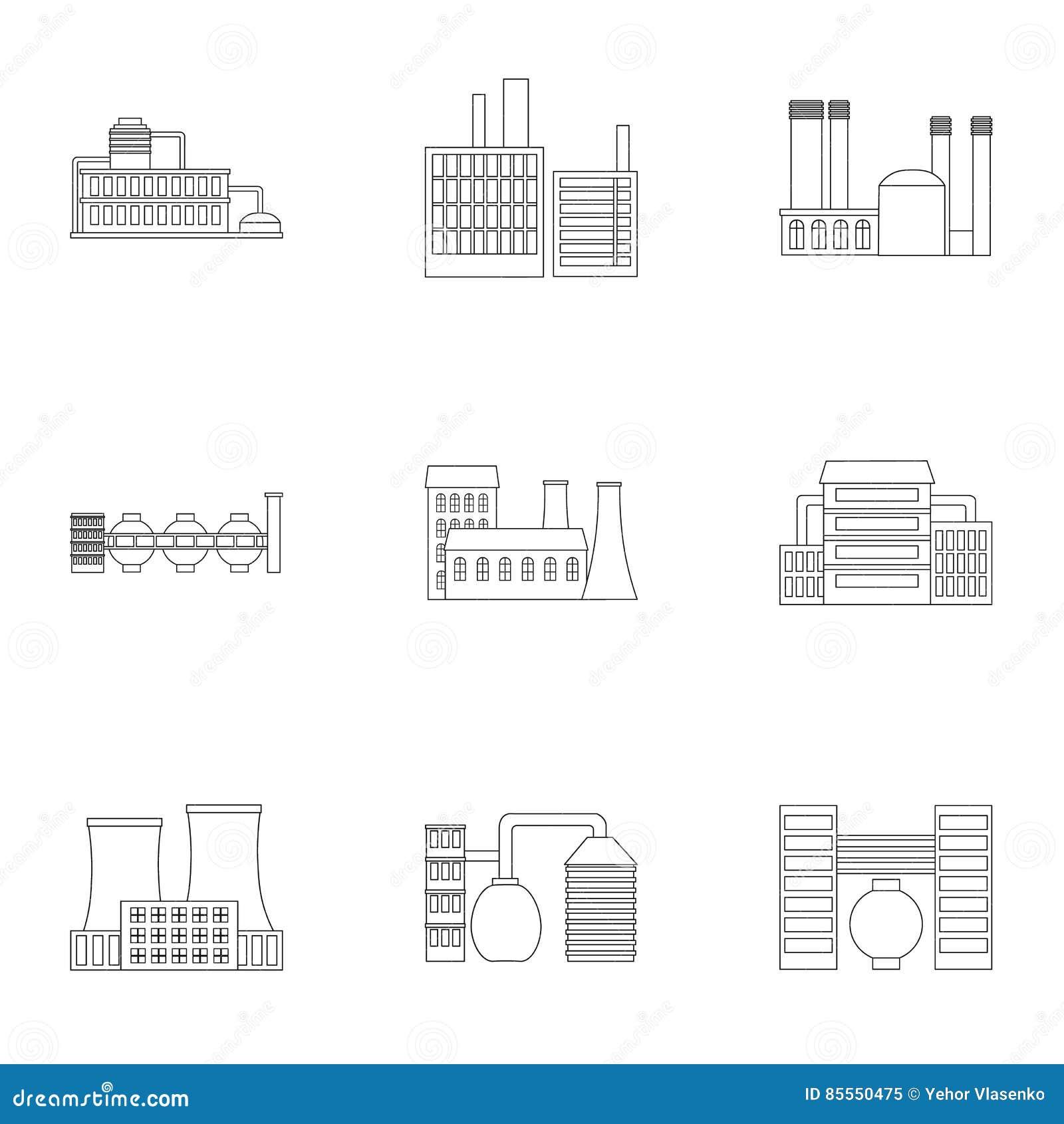 Vom Werk eingestellte Ikonen in der Entwurfsart Große Sammlung der Fabrikvektorsymbol-Vorratillustration
