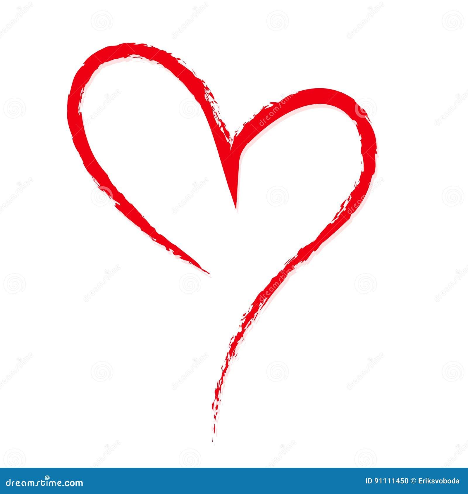 Von Hand Gezeichnet, Flüchtig, Rotes Herz Des Gekritzels Auf Weißem ...