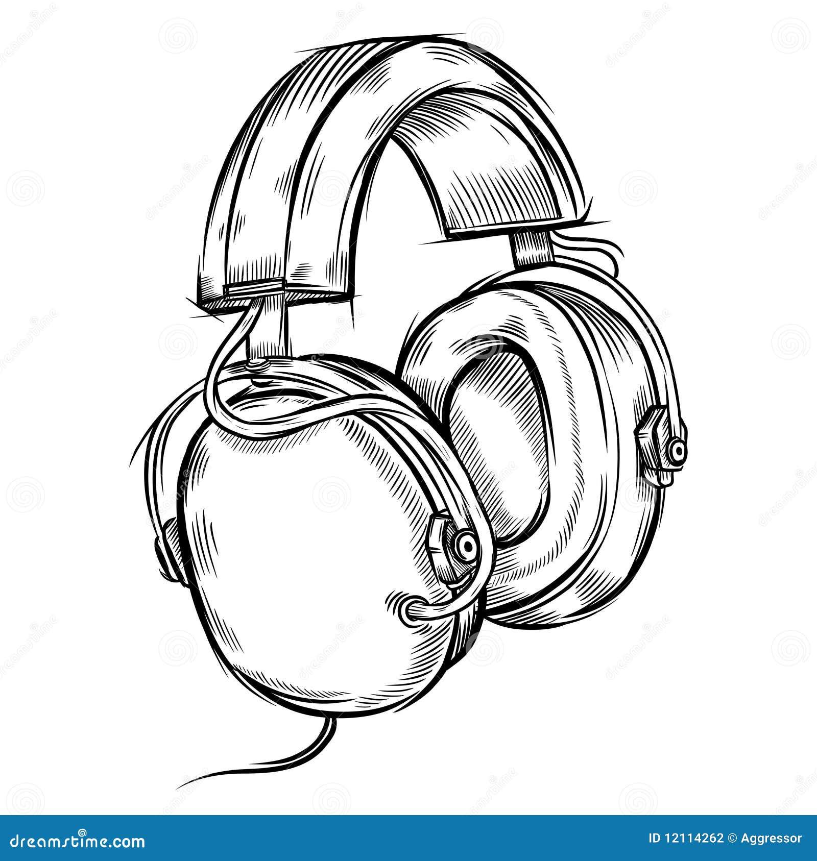 Line Art Headphones : Von hand gezeichnet kopfhörer vektor abbildung bild