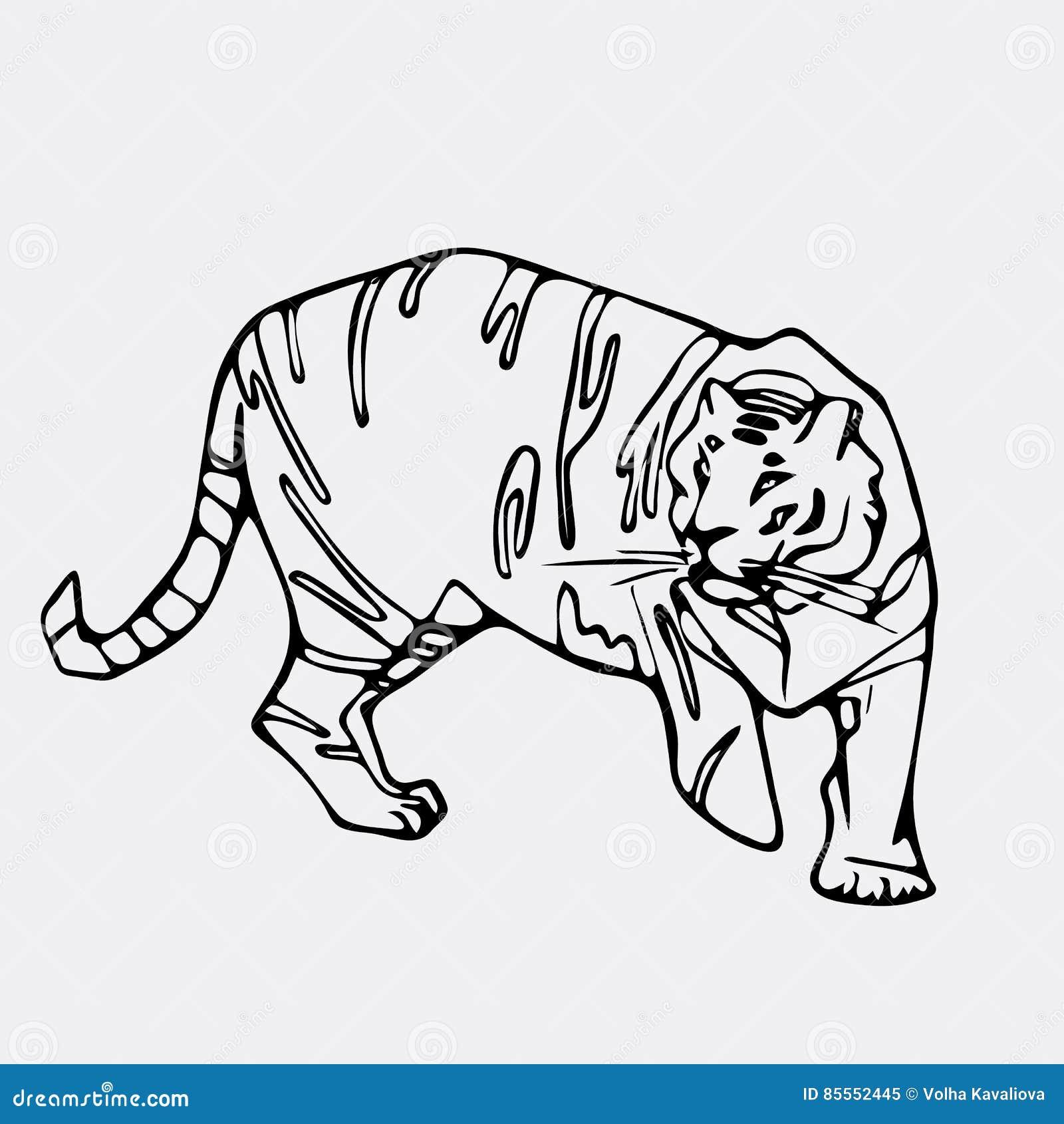 Von Hand gezeichnete Bleistiftgraphiken, Tigerkopf Gravieren, Schablonenart