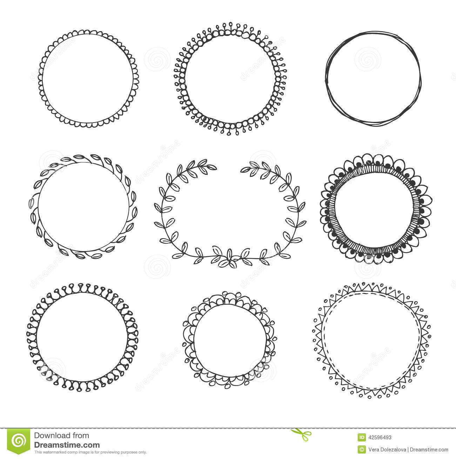 Von Hand Gezeichnete Kreisrahmen Vektor Abbildung - Illustration von ...