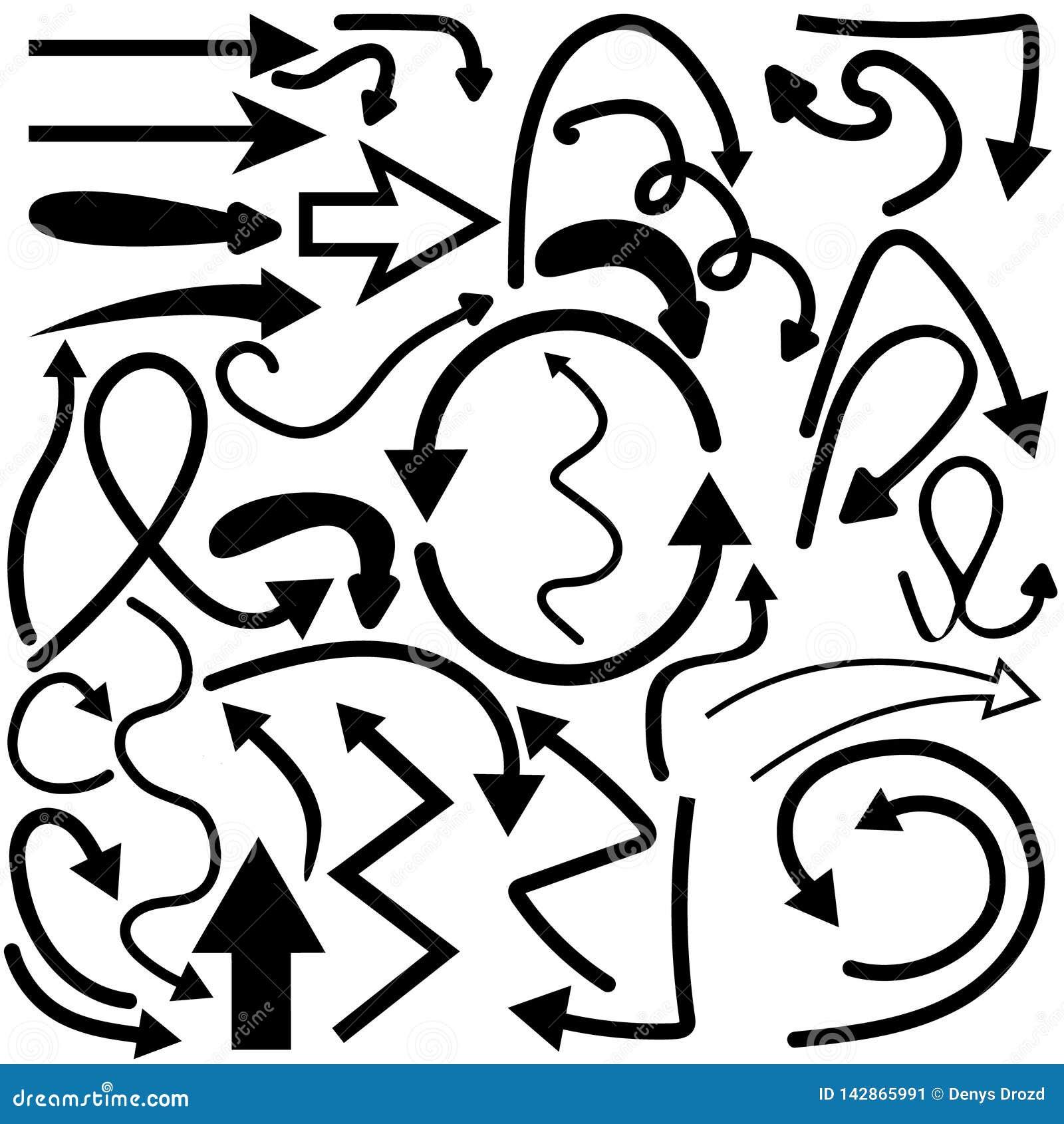 Von Hand gezeichneter Gekritzelpfeil-Vektorsatz