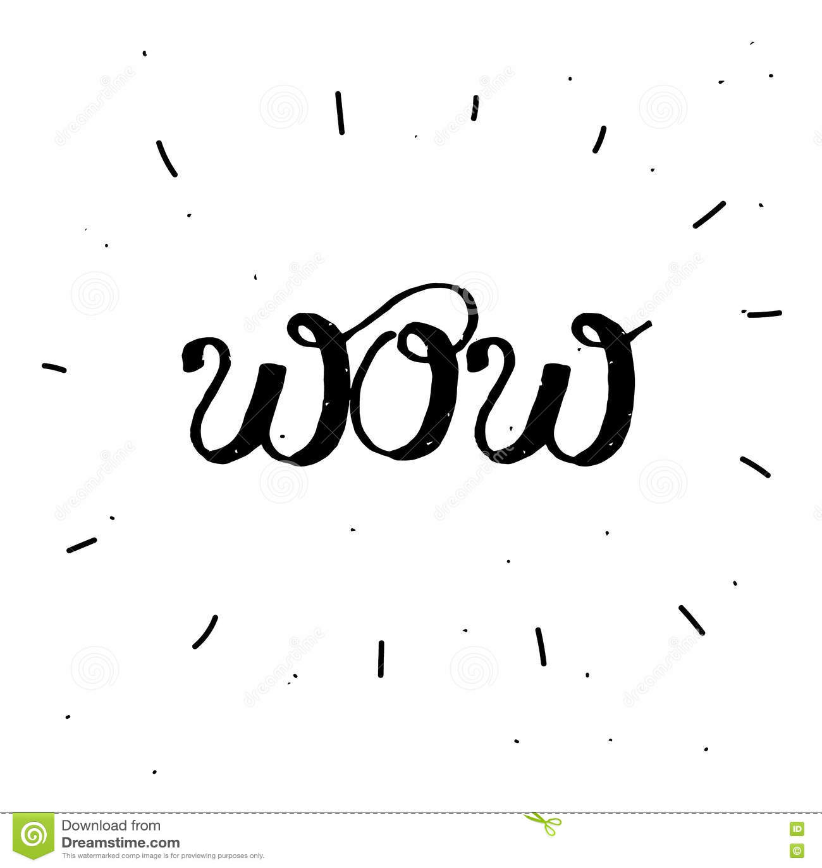 Von Hand Gezeichnetes Wort Wow In Der Schwarzen Farbe Vektor