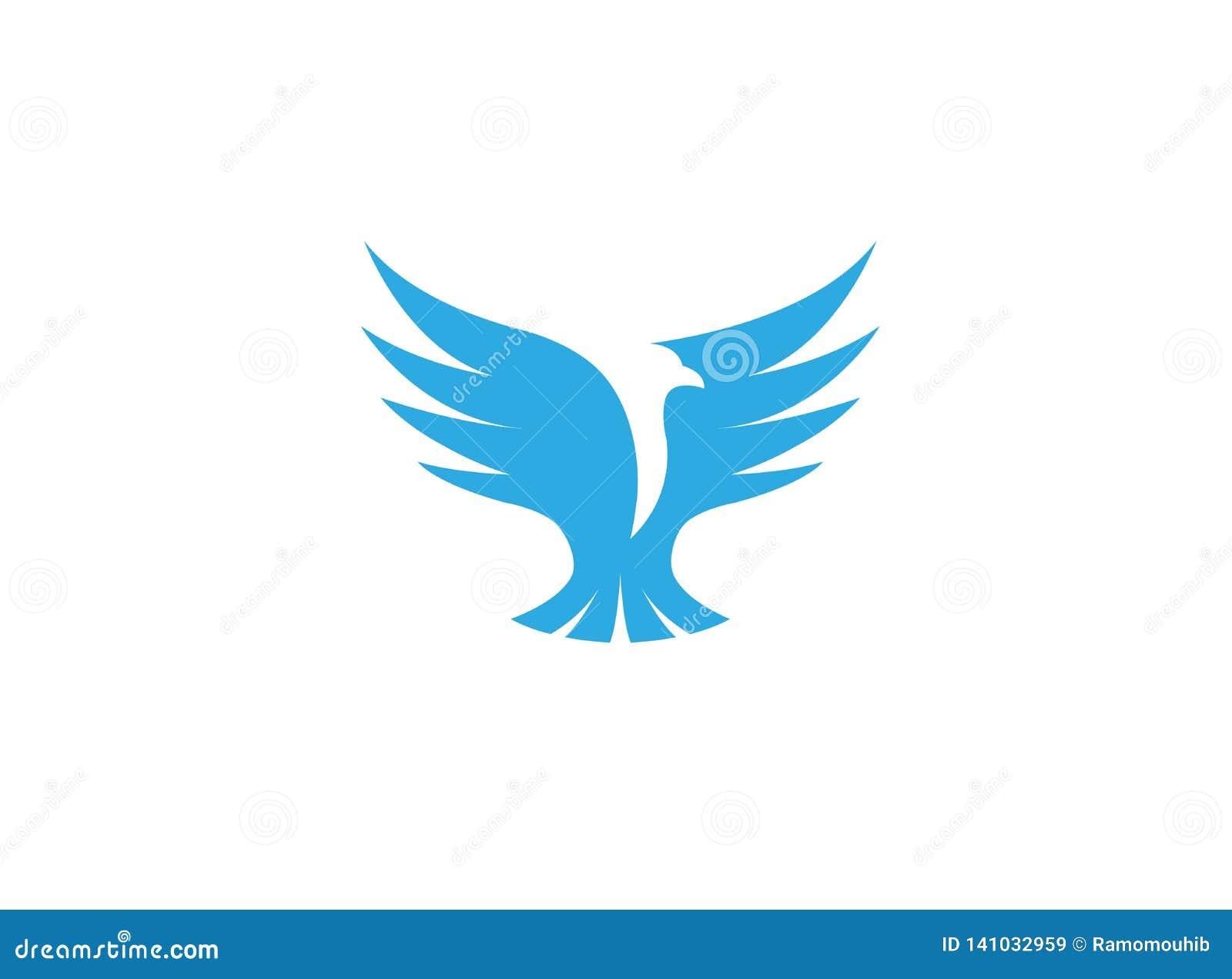 Voo aberto das asas da águia do pássaro para o projeto do logotipo
