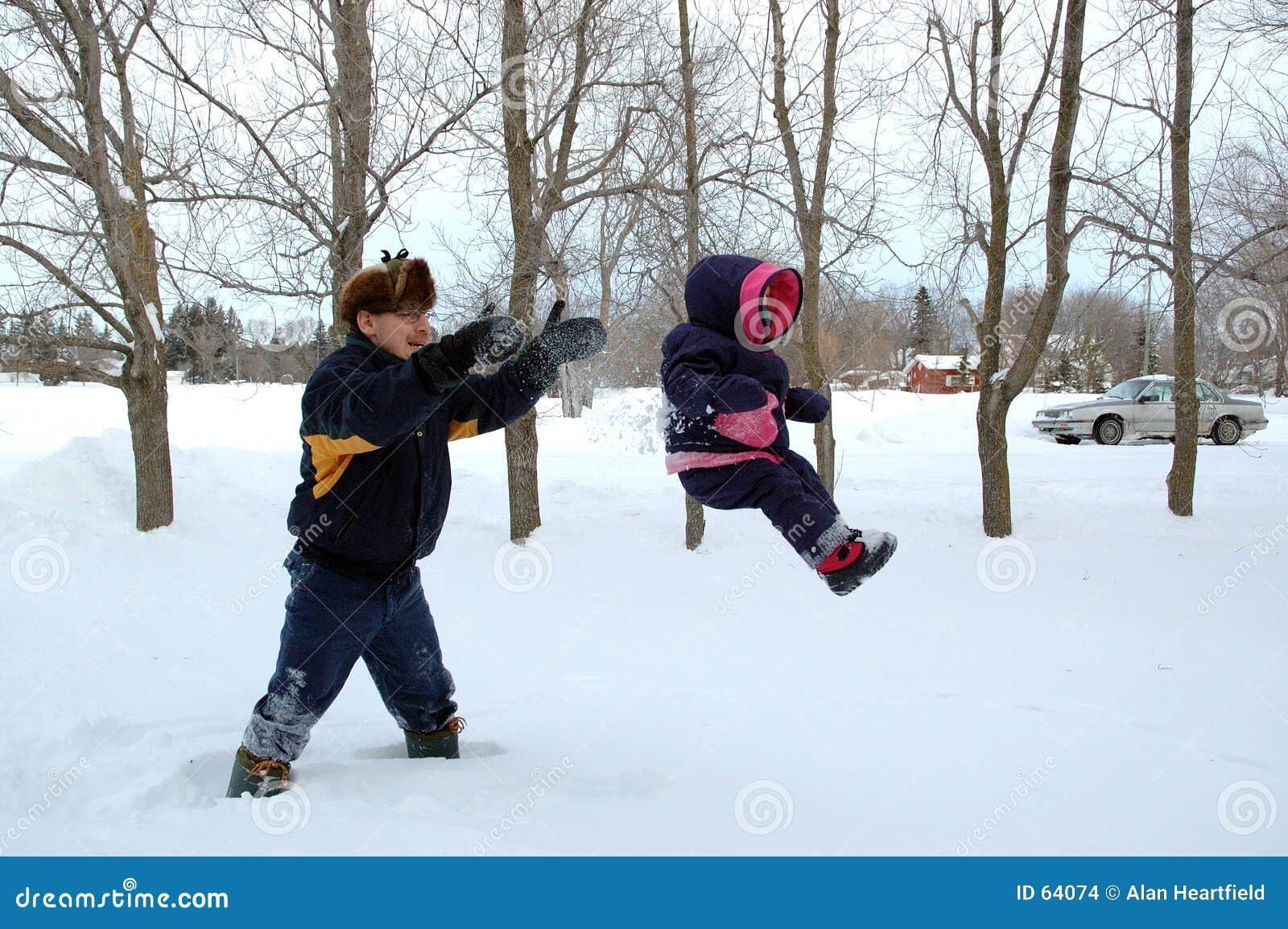 Voo através da neve