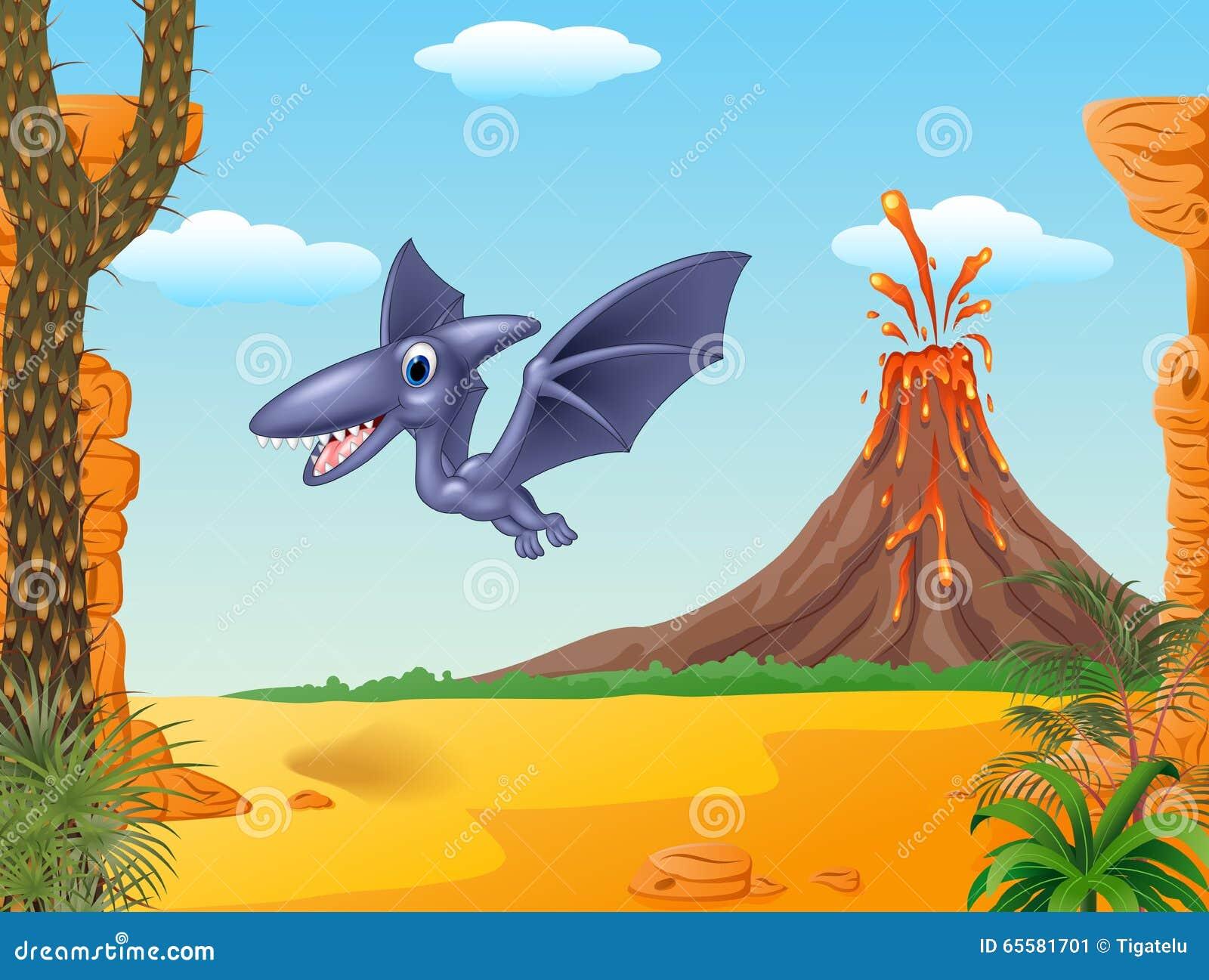 Voo bonito do pterodátilo do pássaro com fundo do vulcão