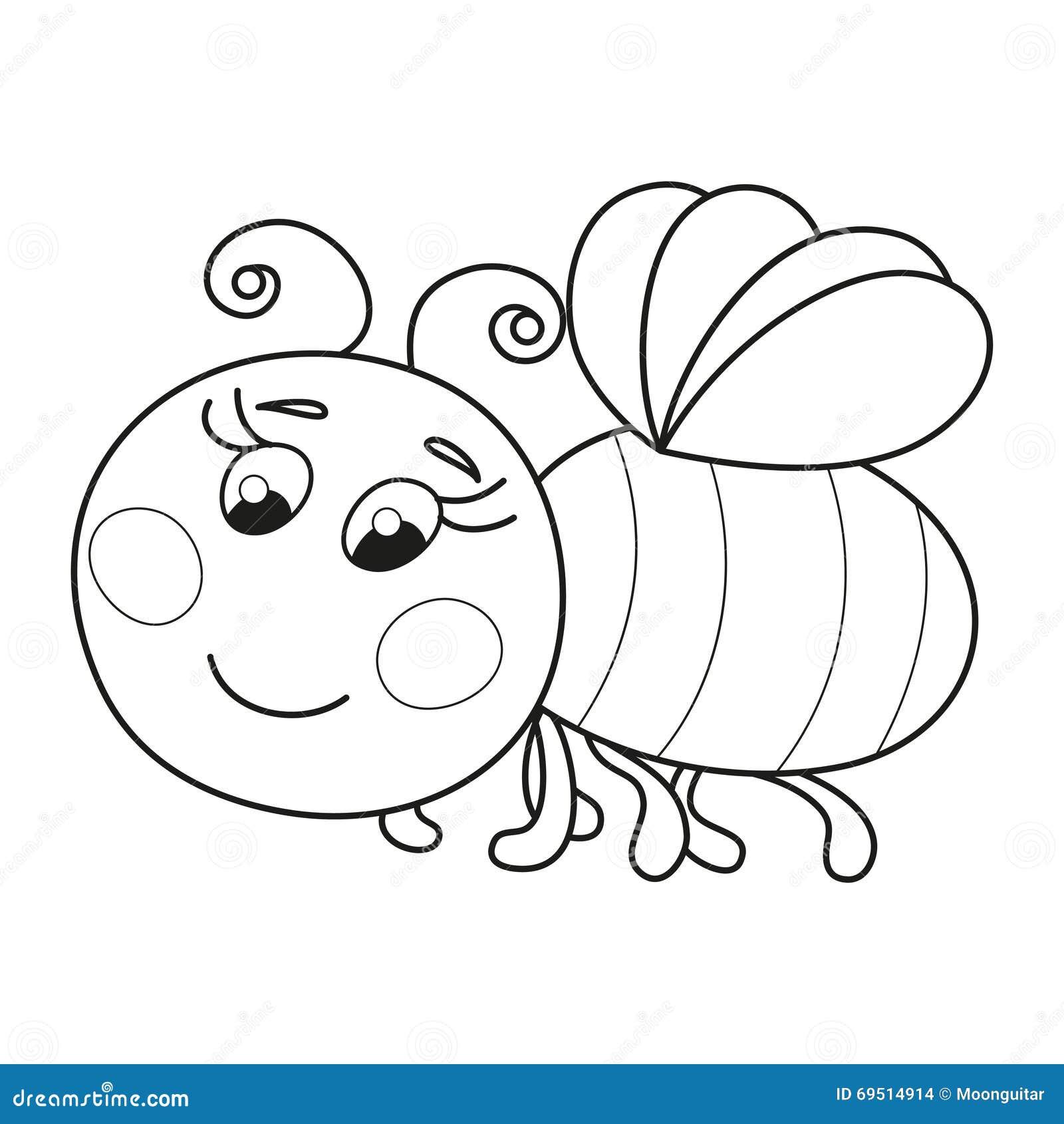 voo corado engra u00e7ado bonito da abelha  p u00e1gina do livro para colorir ilustra u00e7 u00e3o do vetor
